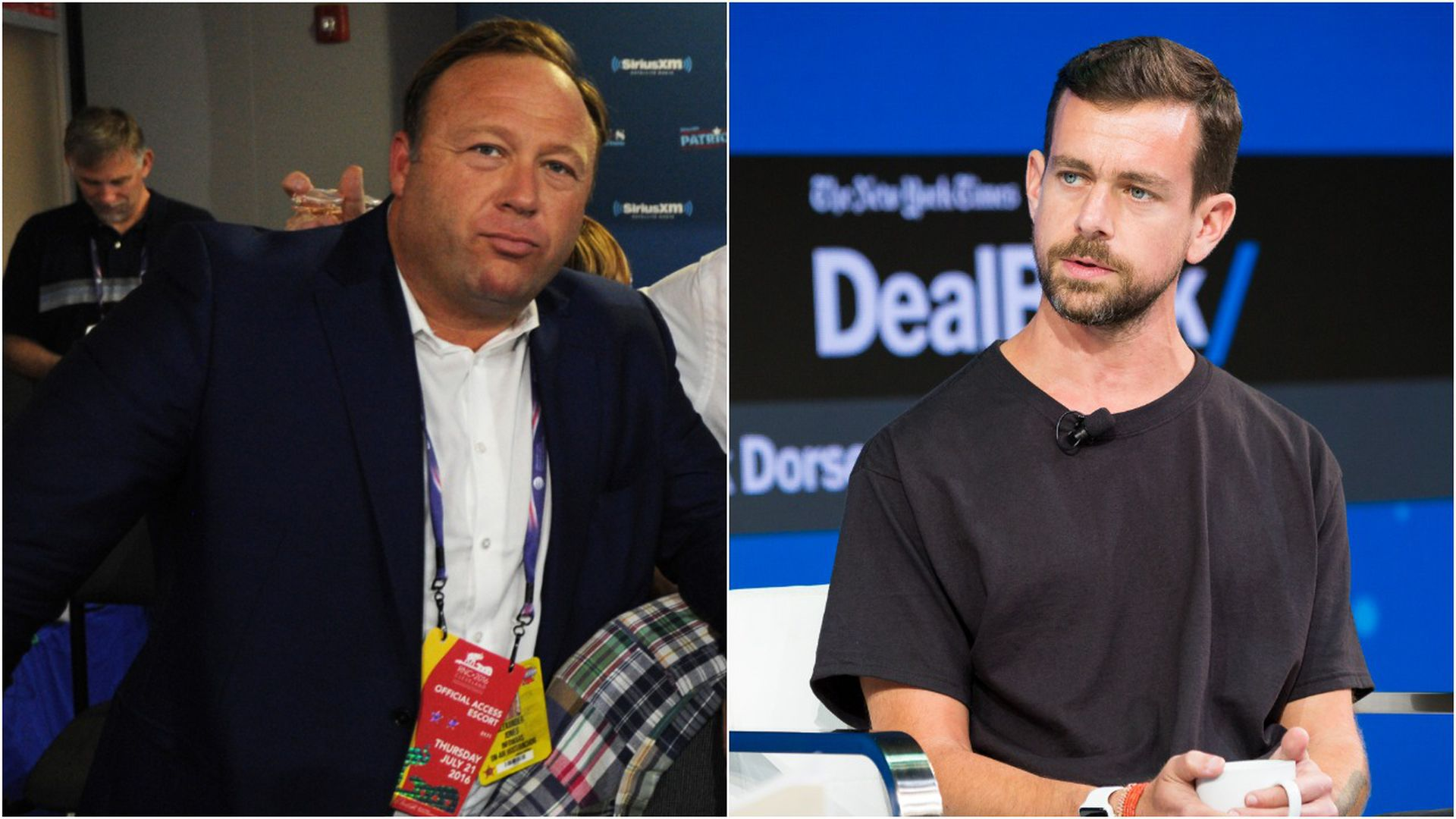 A split-screen image of Alex Jones and Jack Dorsey.