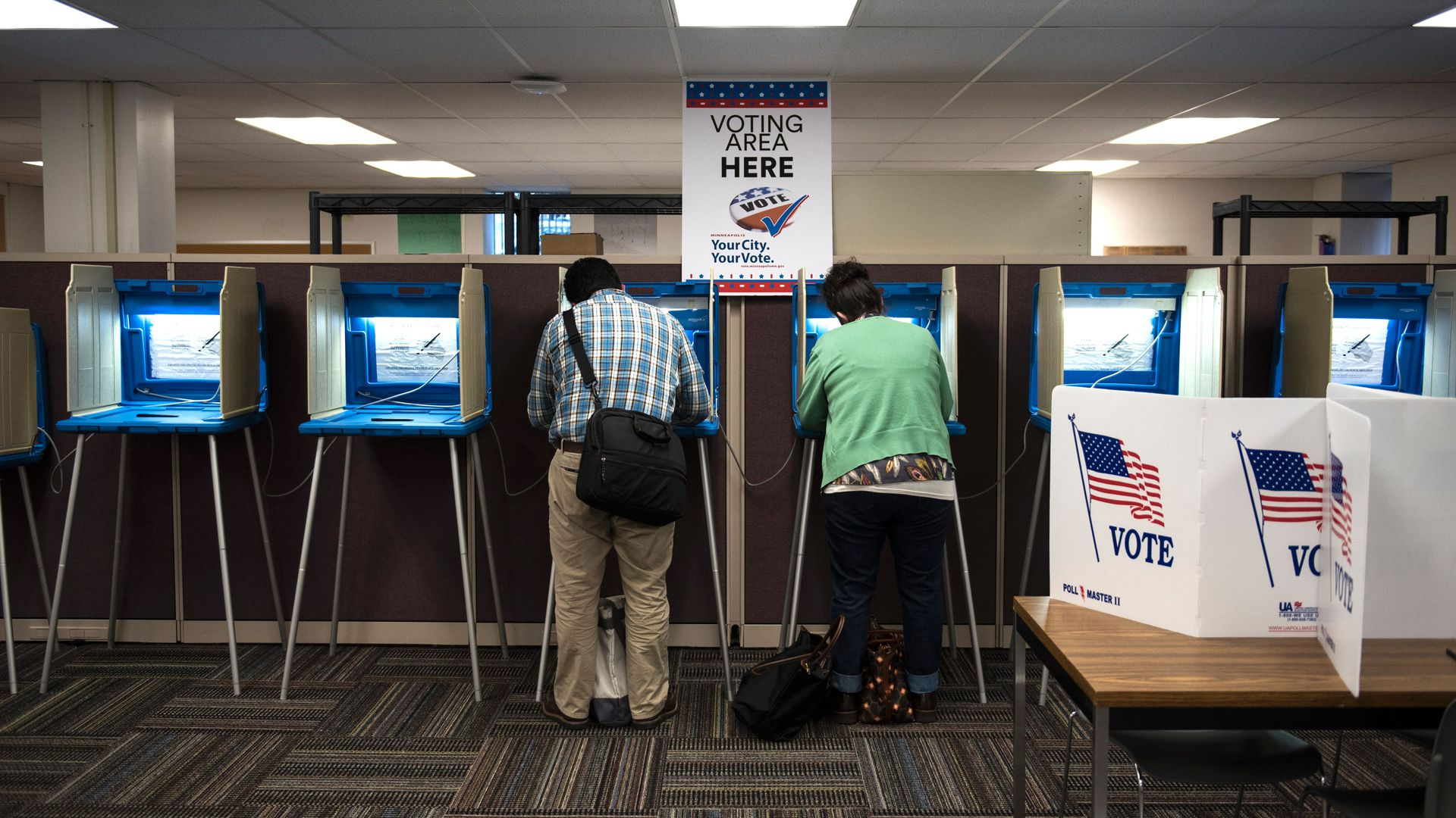 Voters inside an Early Vote Center in downtown Minneapolis, Minnesota.