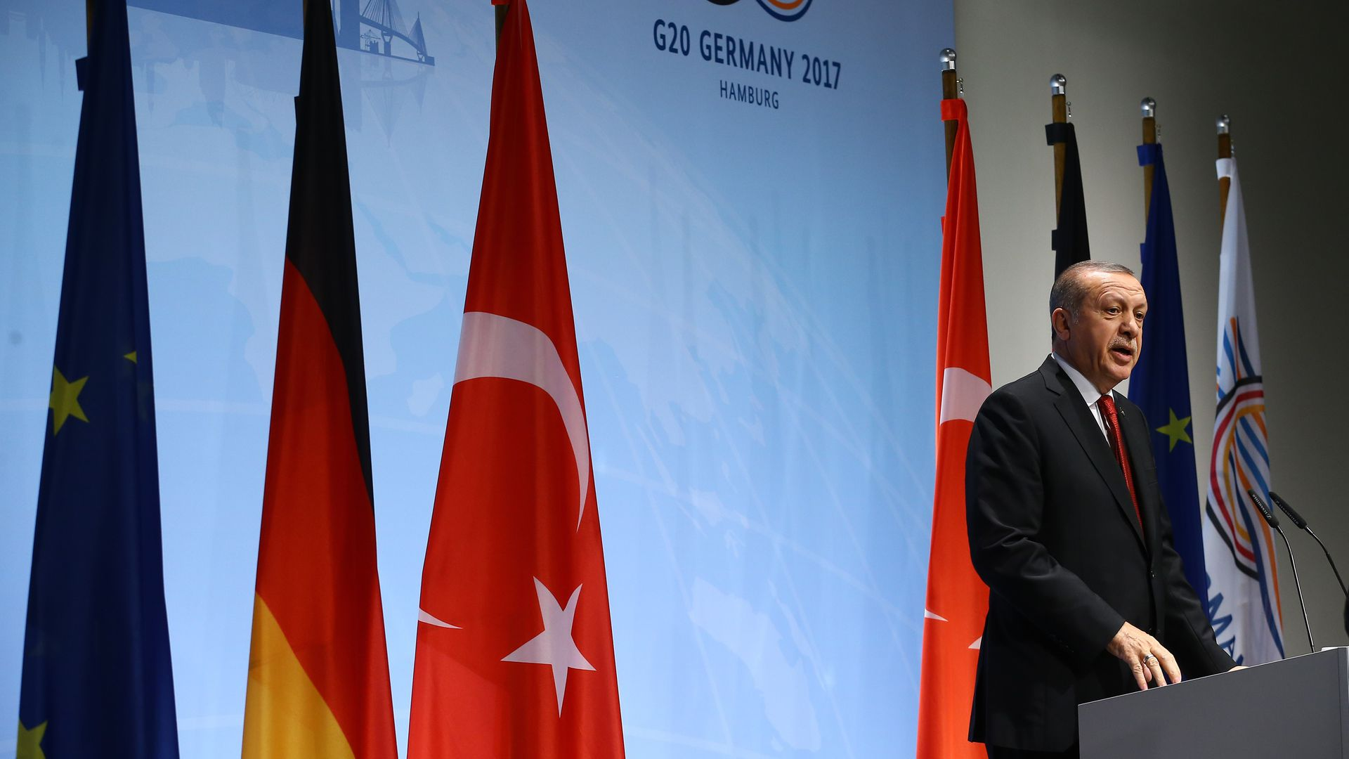 Turkish president giving speech at G20 summit