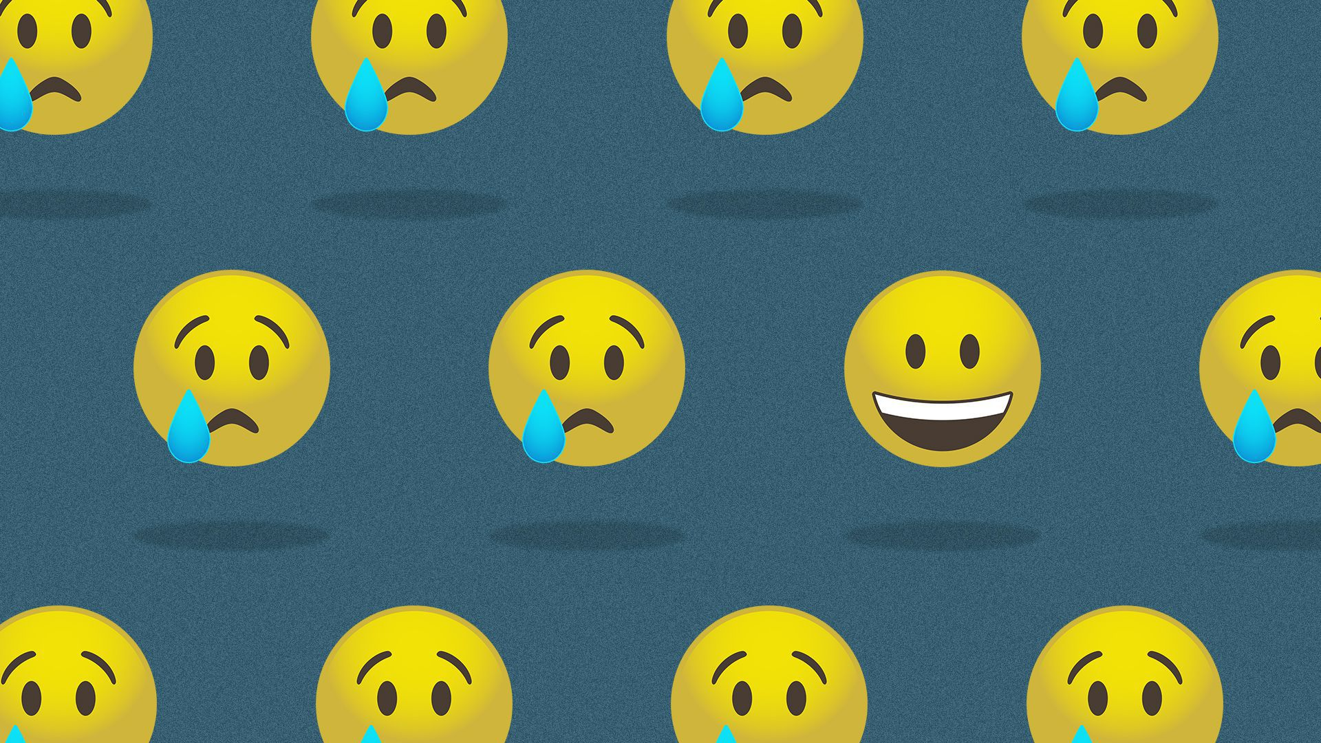 Illustration of a pattern of emojis, all of them crying, except one, which is smiling.