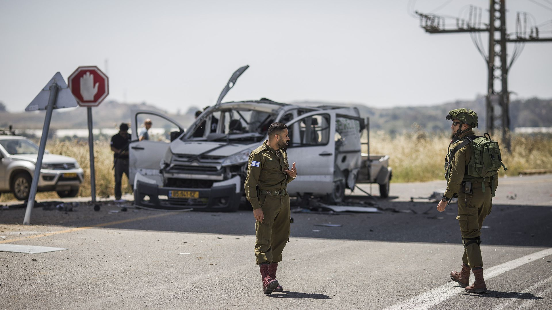 Damaged car from Gaza rocket strikes