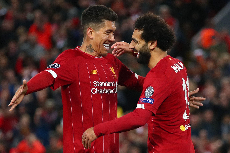 Liverpool players hugging