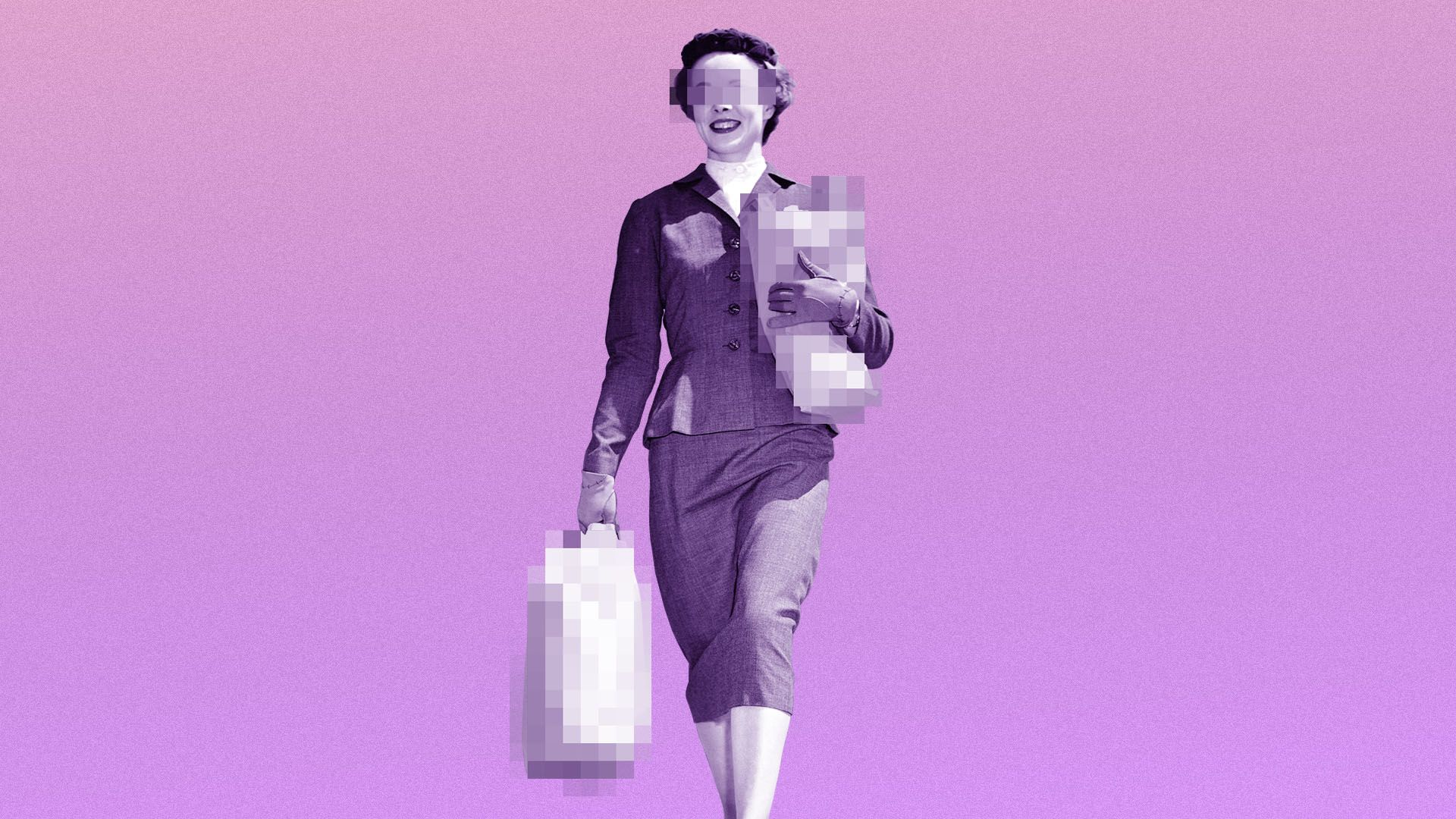 Illustration of a woman with pixelated eyes in vintage style holding pixelated shopping bags