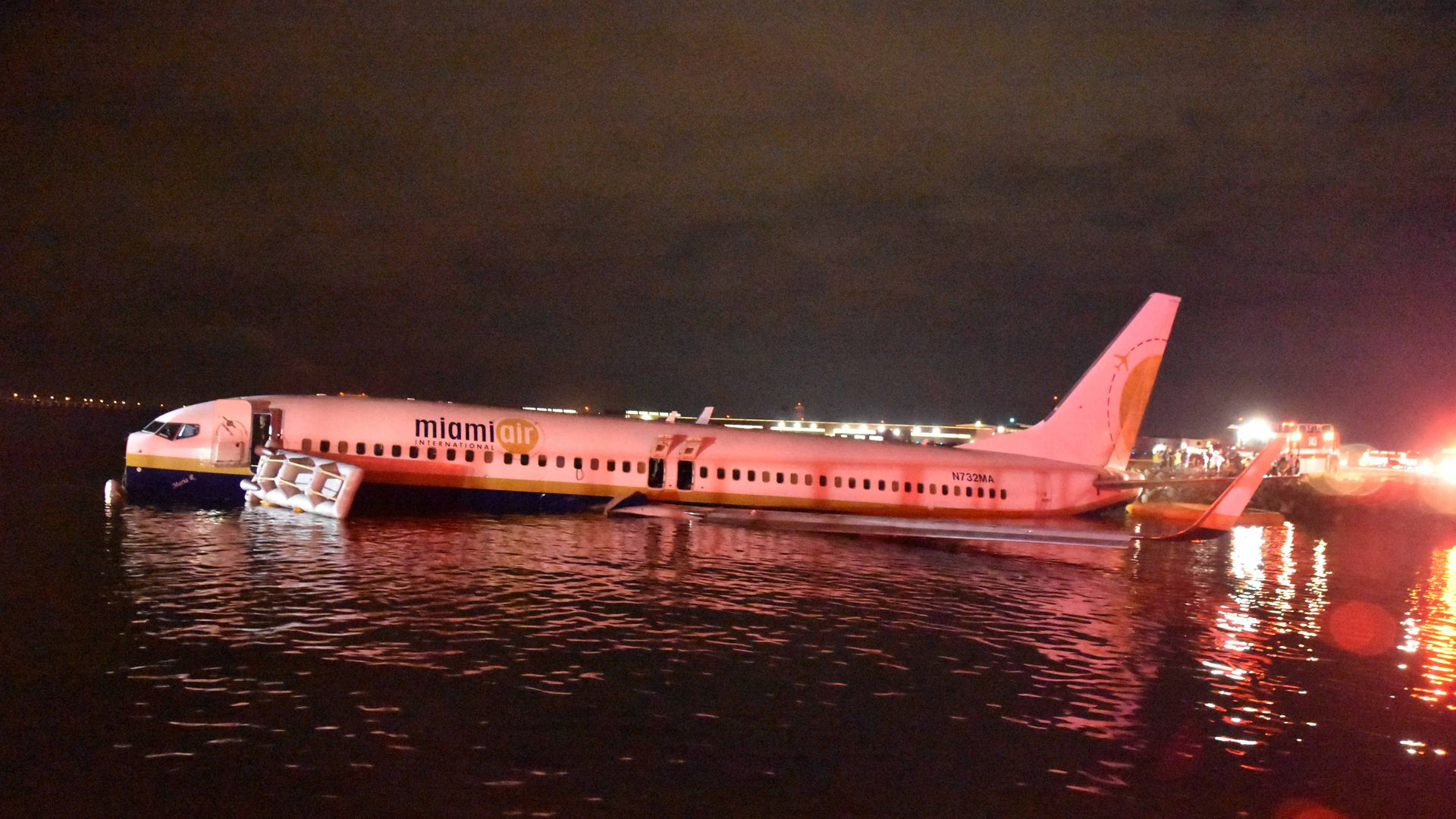 The Boeing 737 aircraftthat slid off the runway at Naval Air Station Jacksonville, Florida.