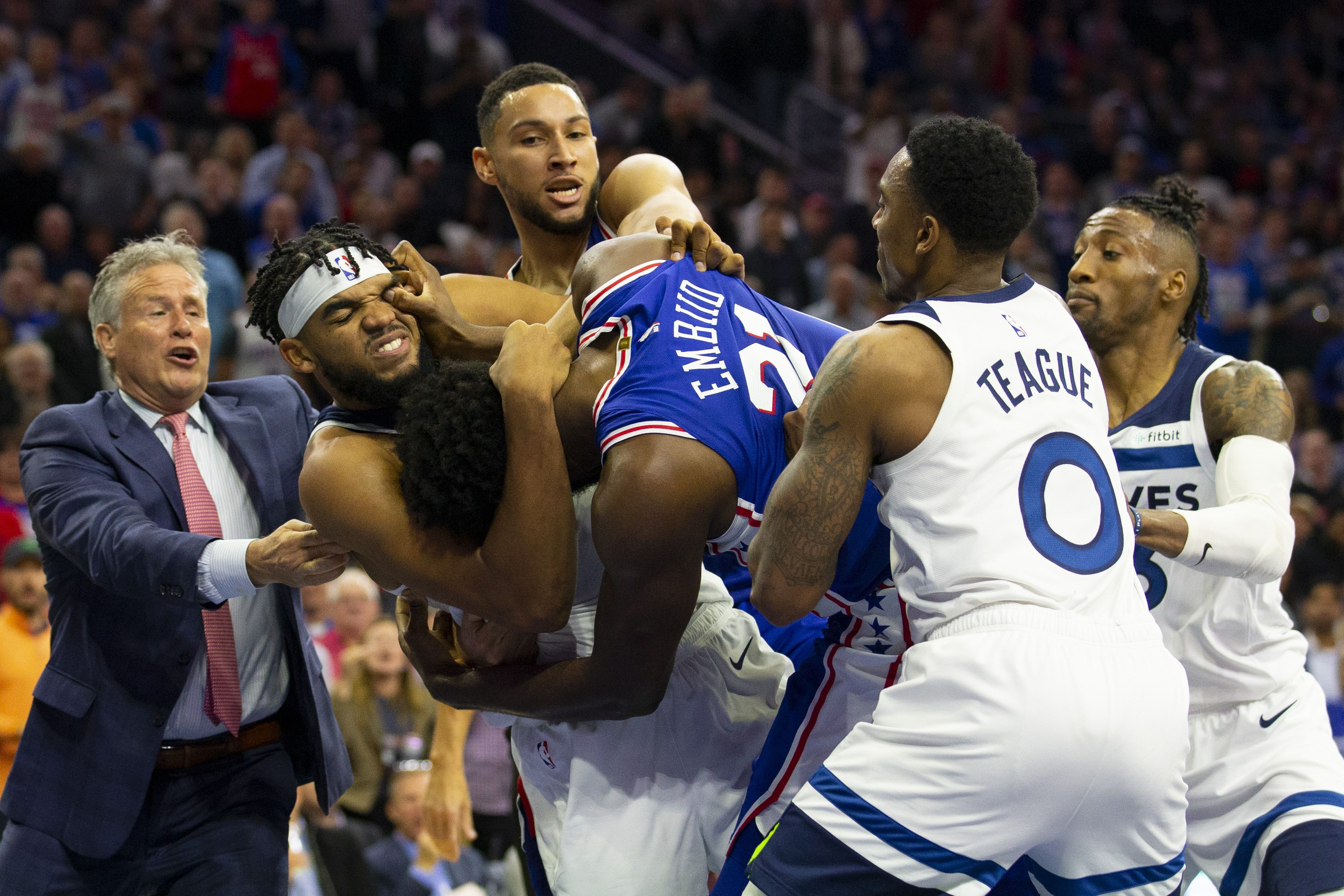 Joel Embiid and Karl-Anthony Towns fighting
