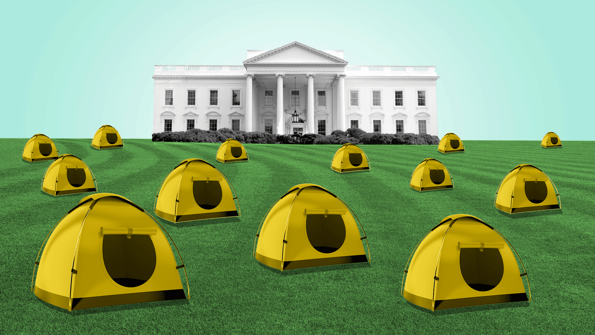 Illustration of White House with tents out front.
