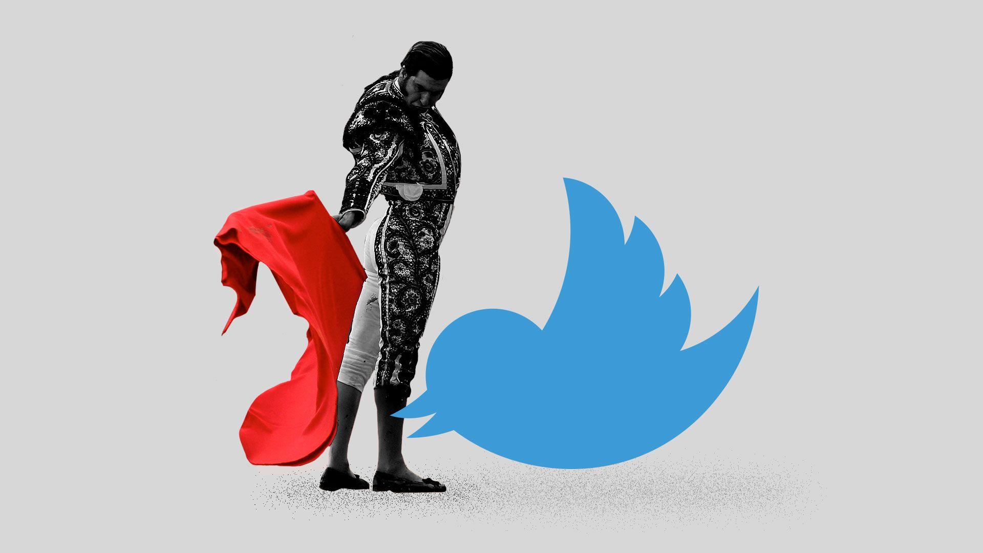 Illustration of a matador using a cape on a Twitter bird.