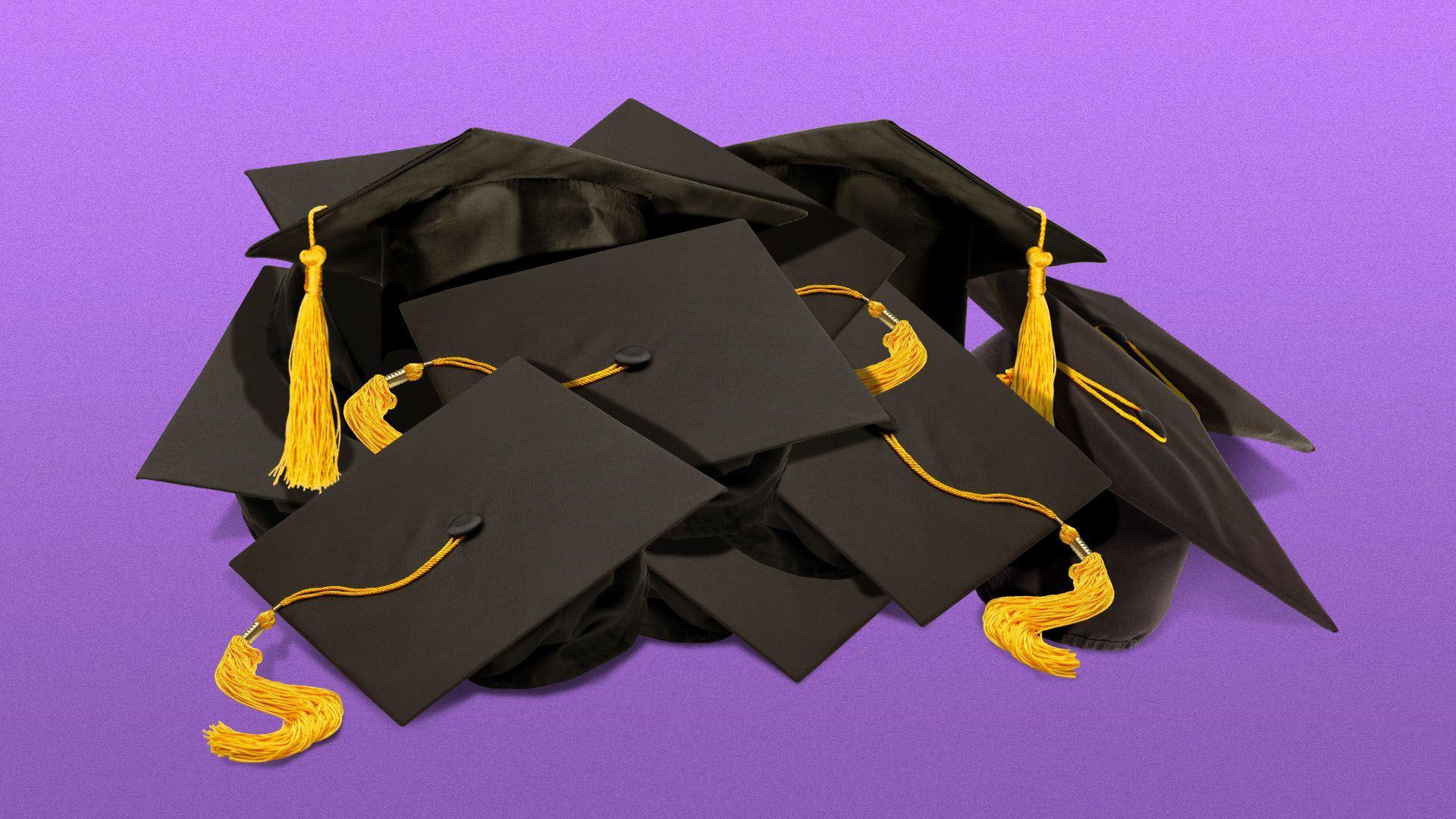 Illustration of a pile of graduation caps