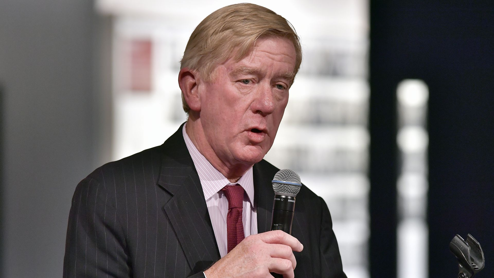 Former Massachusetts Governor William Weld at Harvard University's Shorenstein Center on Media, Politics and Public Policy on March 6, 2018 in Cambridge, Massachusetts.