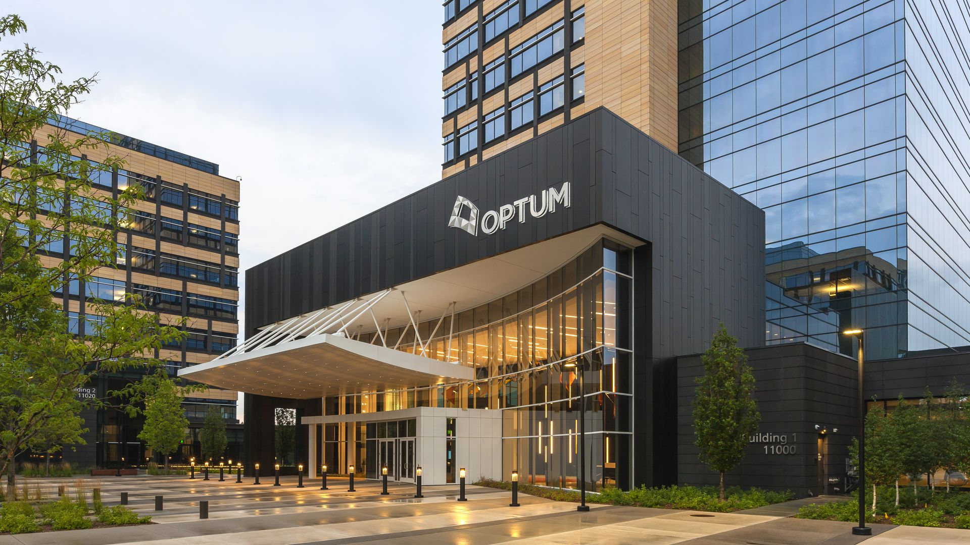 A building with the Optum logo.