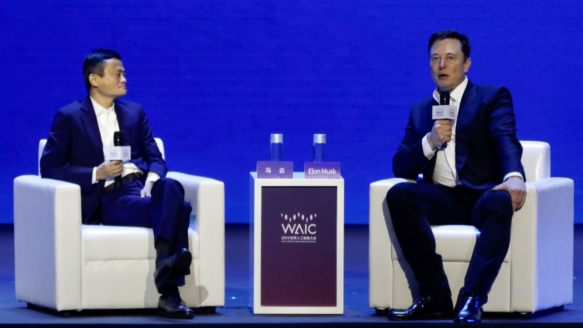 Alibaba Group Chairman Jack Ma and Tesla CEO Elon Musk at the World Artificial Intelligence Conference in Shanghai, China, Thursday.