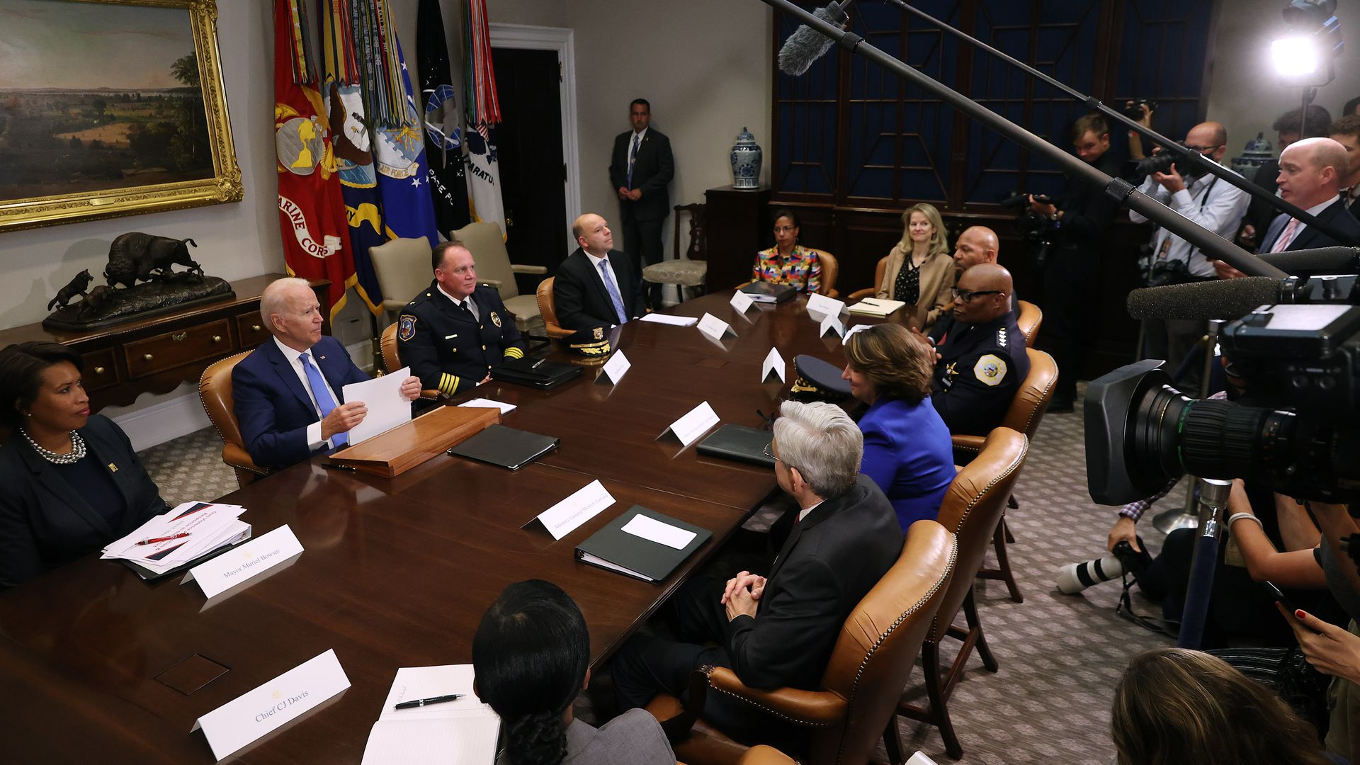 President Biden is seen speaking about Cuba during a meeting focused on gun violence.