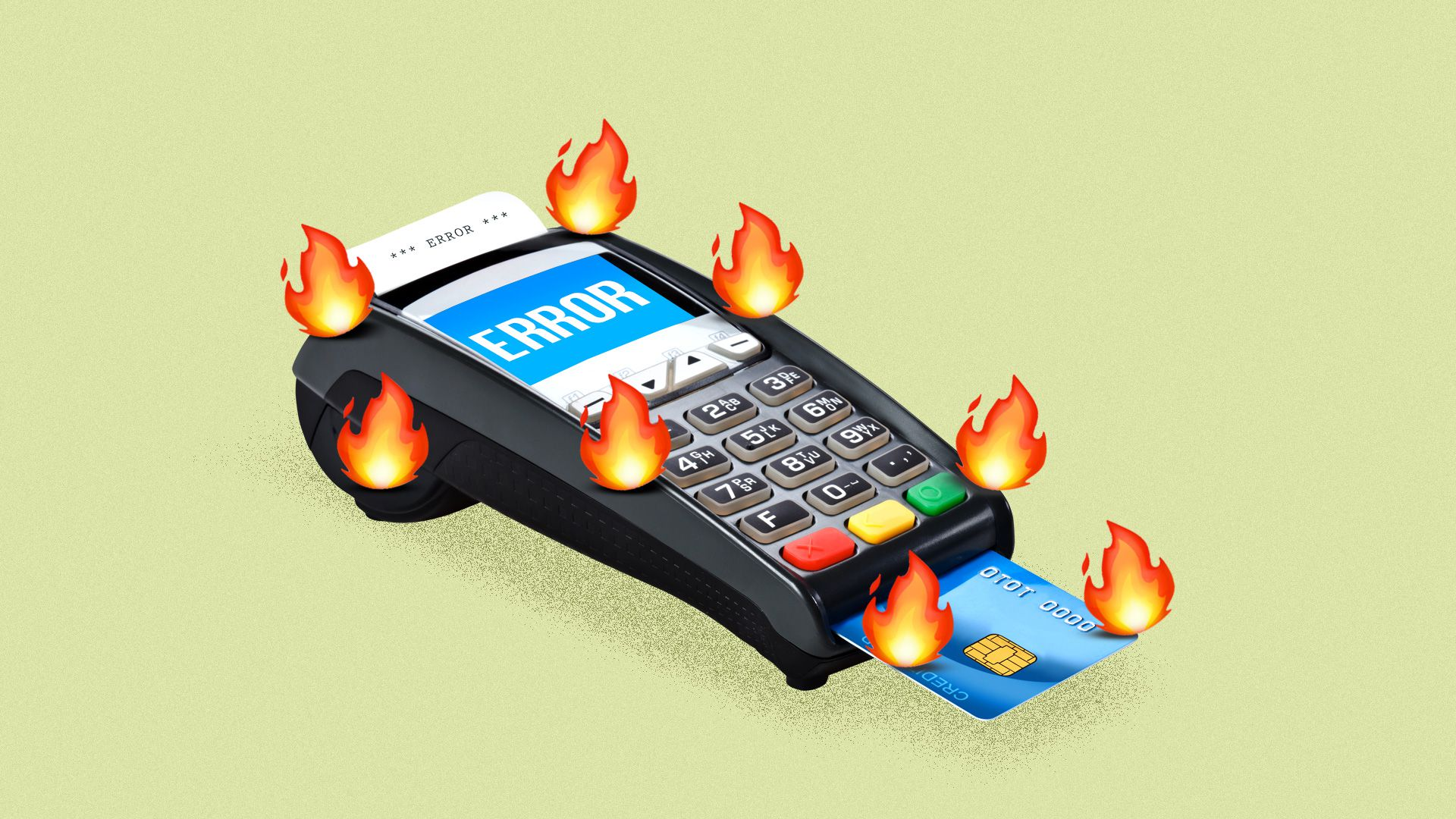 A credit card machine catching on fire
