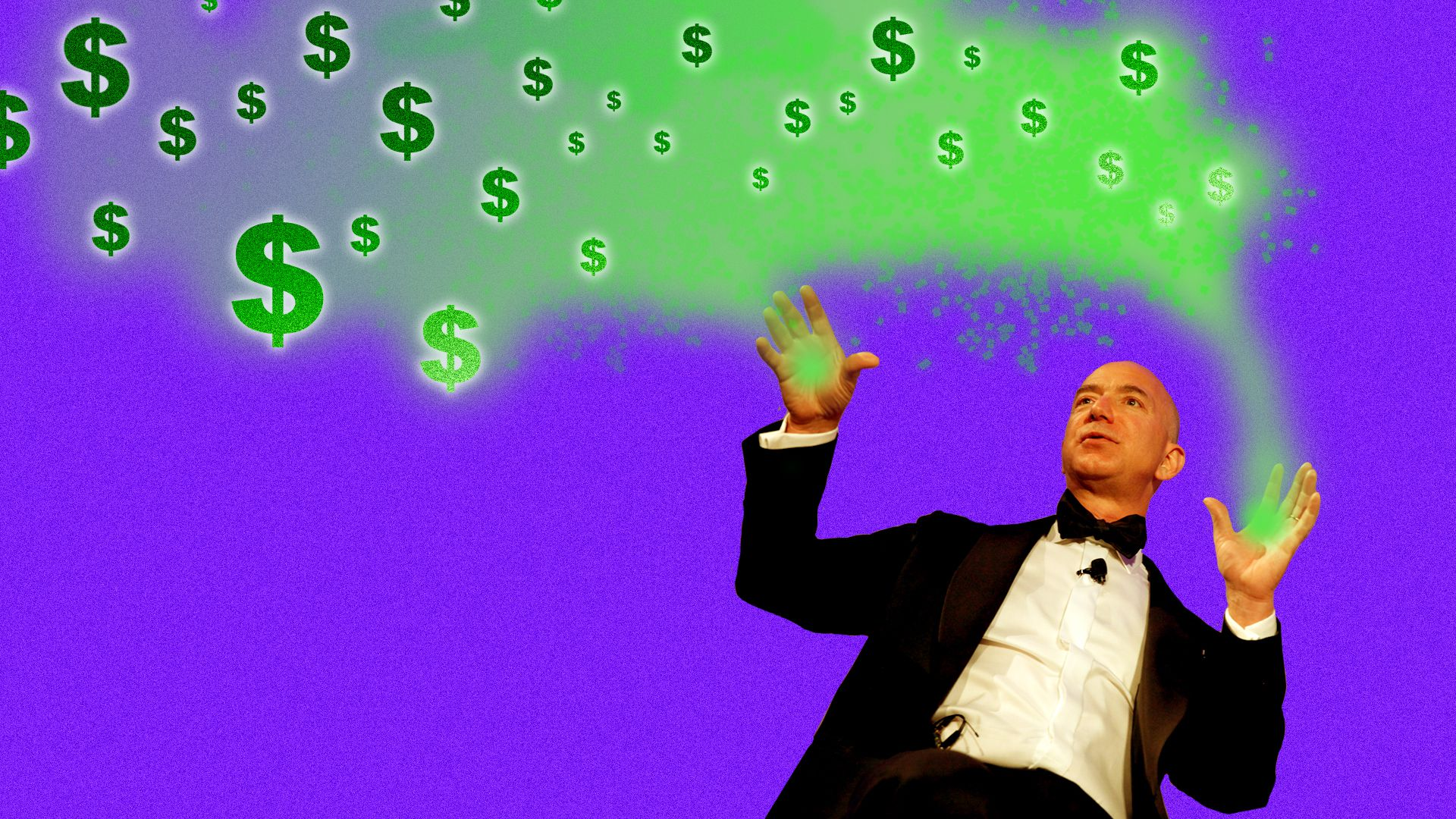 Jeff Bezos in a tuxedo, with green fog and dollar signs emanating from his hands