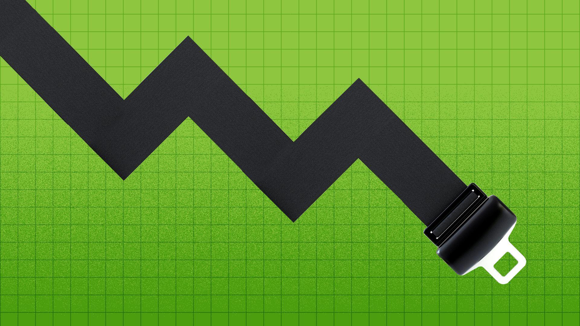 Illustration of a seat belt in the shape of a downward trending market line.