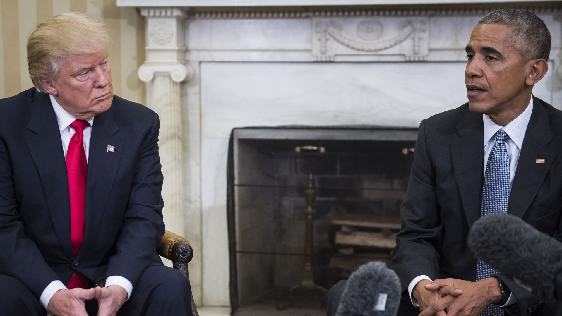 President Barack Obama and President Donald Trump in the Oval office