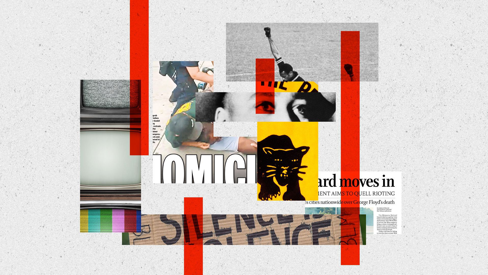 Photo illustration of media, Black Lives Matter protests, Emmett Till, the Daily News cover of Eric Garner's death, a Black power pin, olympic athletes on podium, a Star Tribune cover.