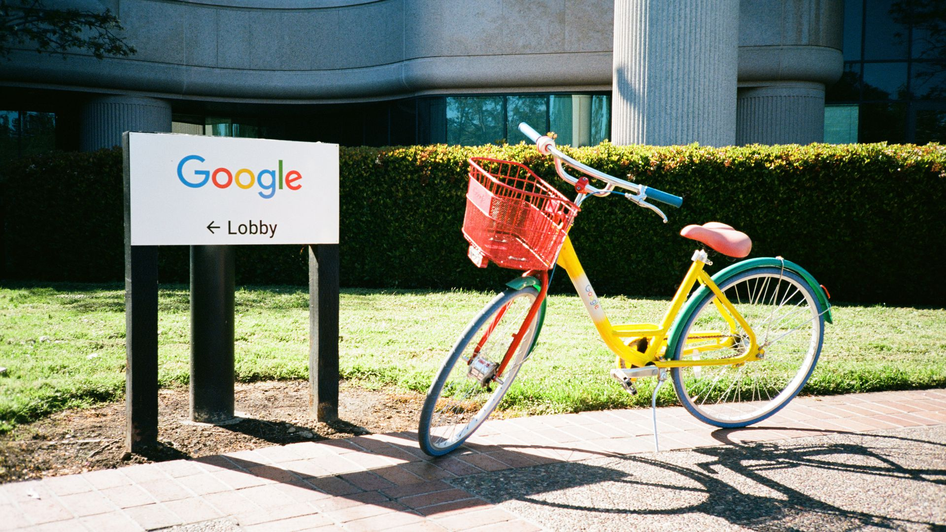 A colorful Google bike on the Google campus