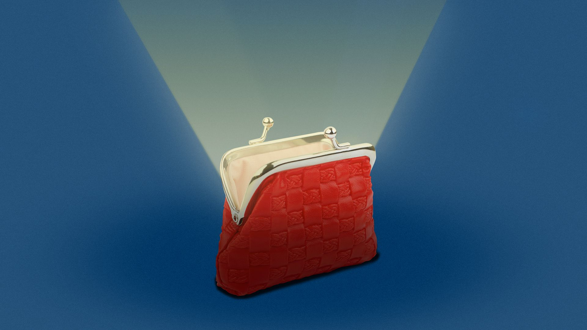 Illustration of a coin purse opening up and light radiating from the inside.