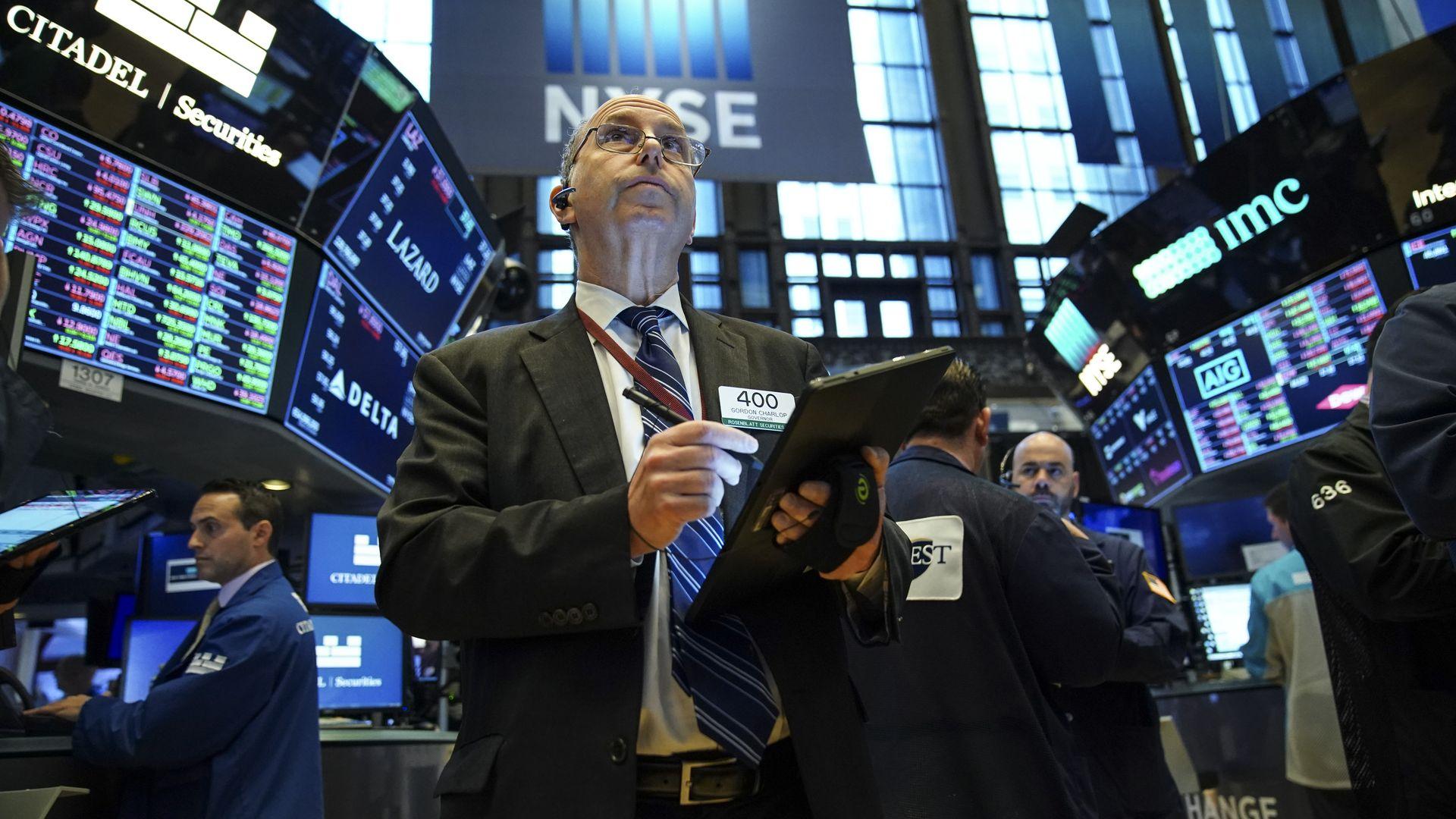 The floor of the New York Stock Exchange last month