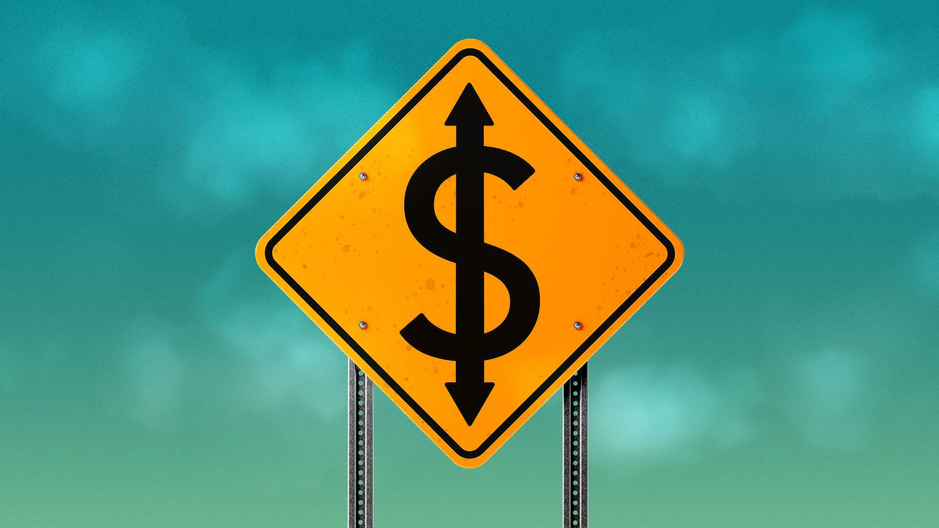 Illustration of a street sign with a dollar symbol with two arrows on it