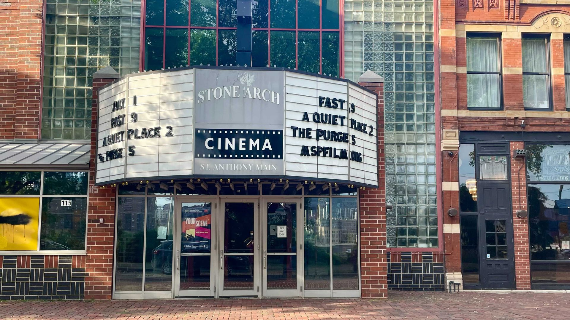 The marquee outside of St. Anthony Main Theatre in Minneapolis.