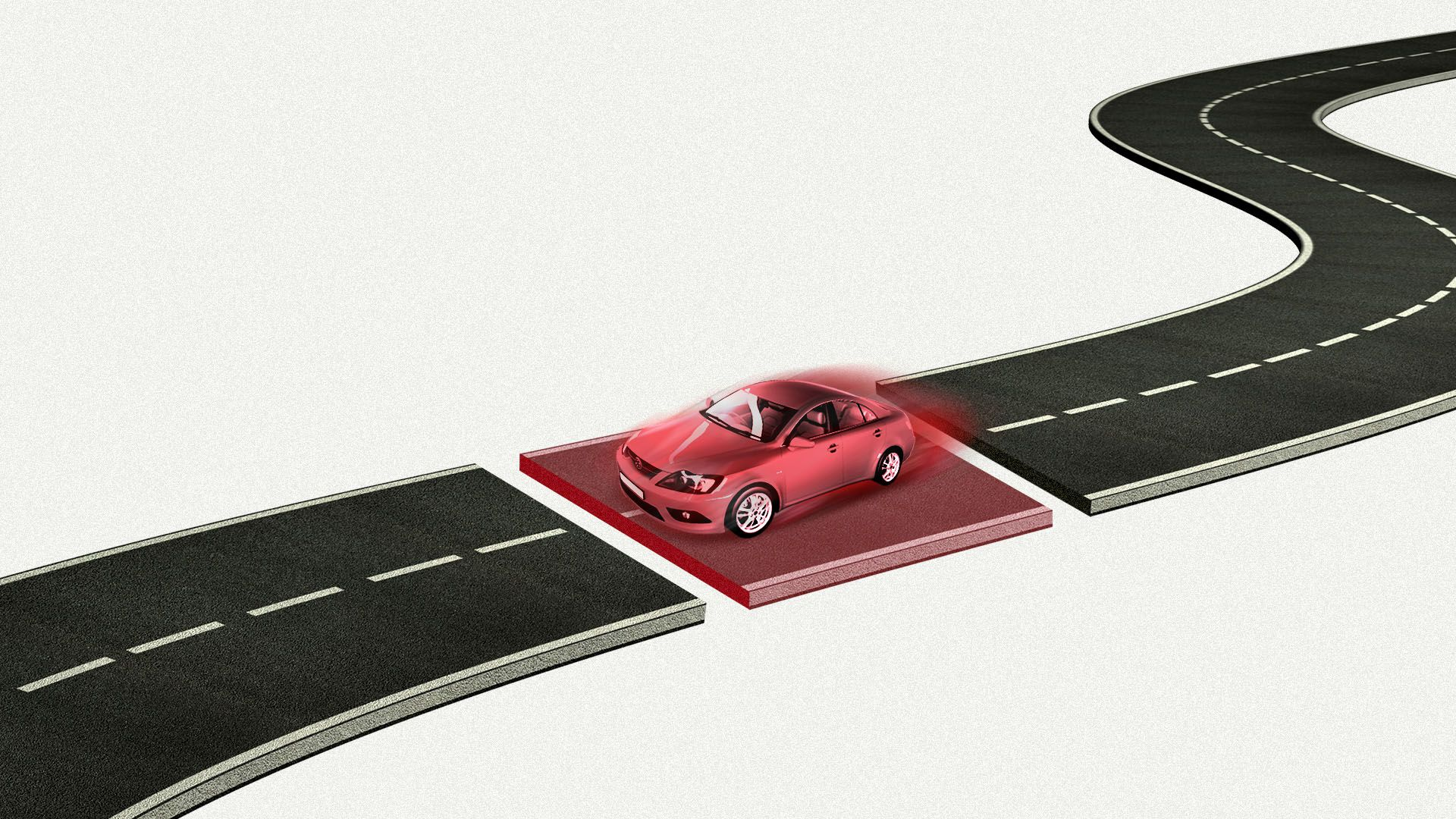 Illustration of a road with a middle section highlight in red, with a red car speeding on it