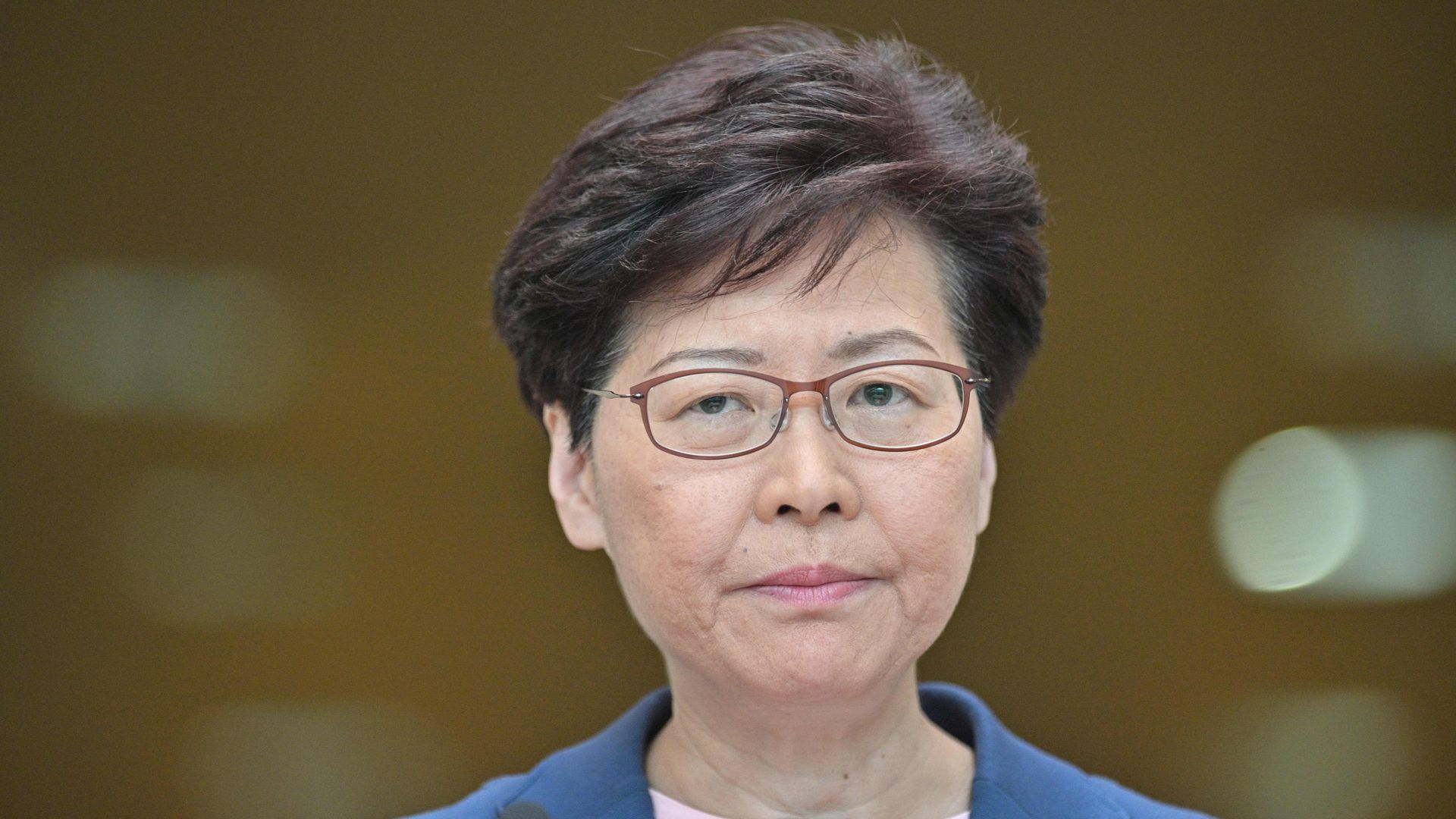 Chief Executive Carrie Lam holds a press conference at the government headquarters in Hong Kong on July 9.