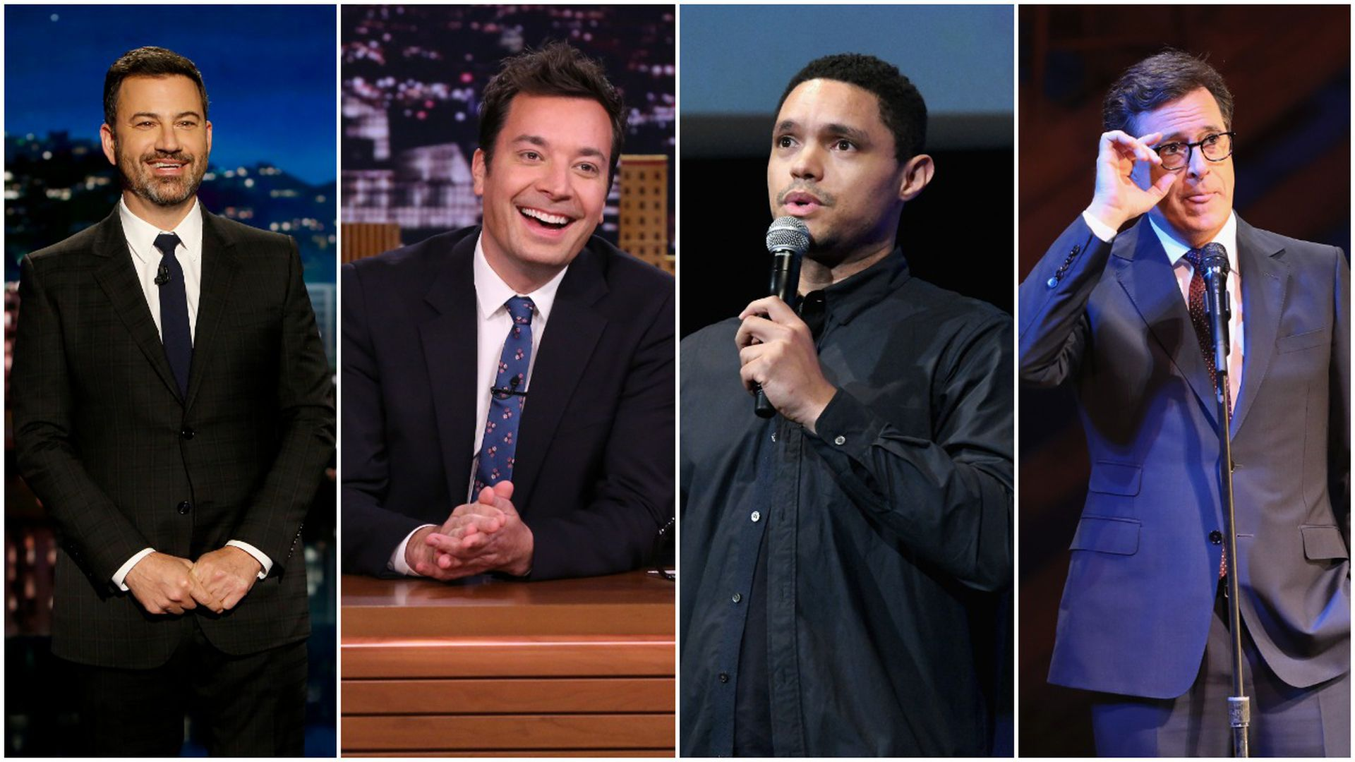 Jimmy Kimmel, Jimmy Fallon, Trevor Noah and Stephon Colbert.