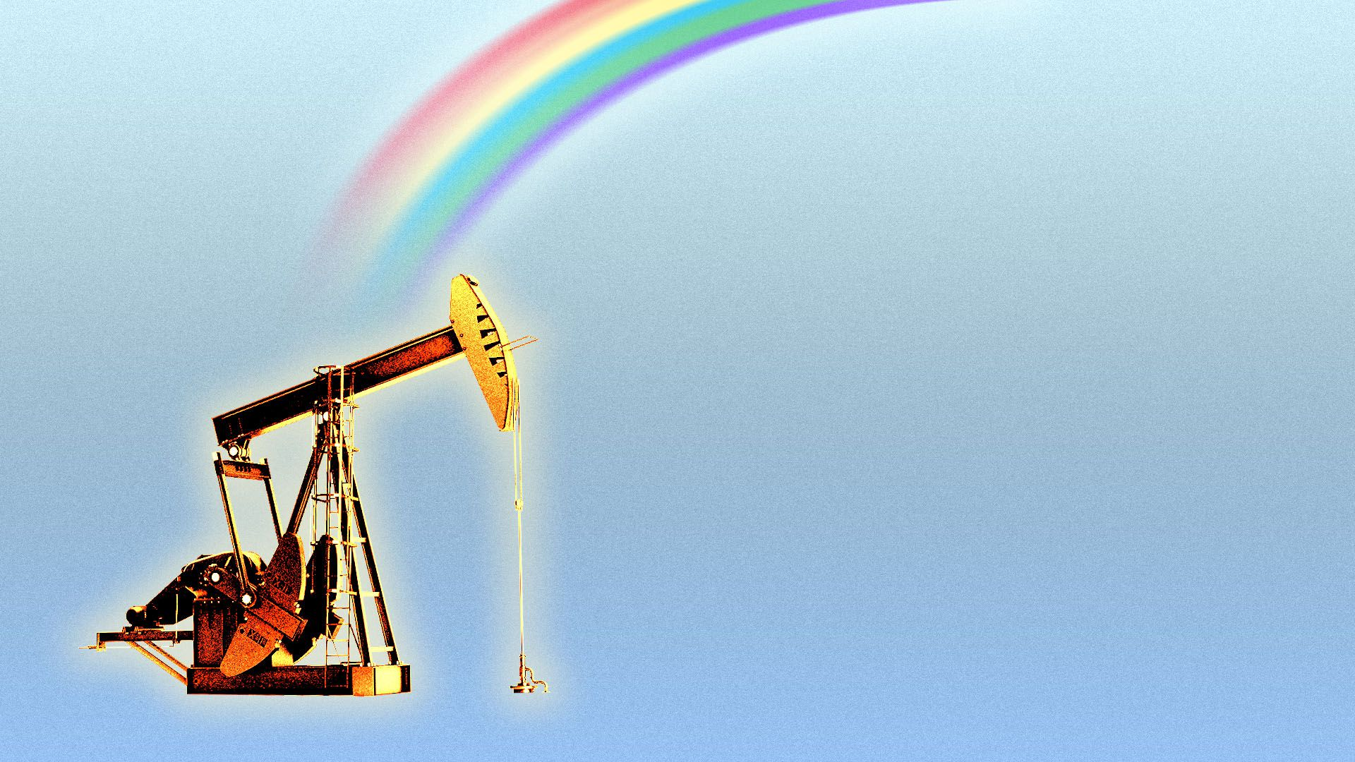 Illustration of a golden oil rig at the end of a rainbow