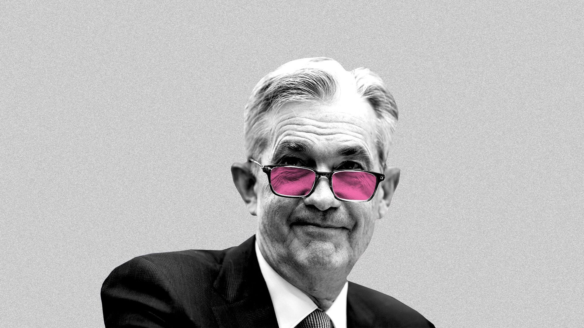 Fed chairman Jerome Powell wearing rose-colored glasses.