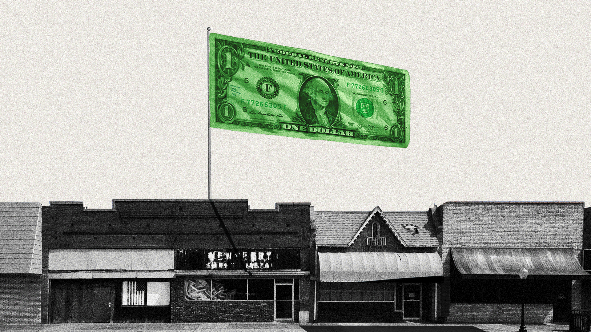 Illustration of a dollar bill as a flag, flying over a shuttered main street.