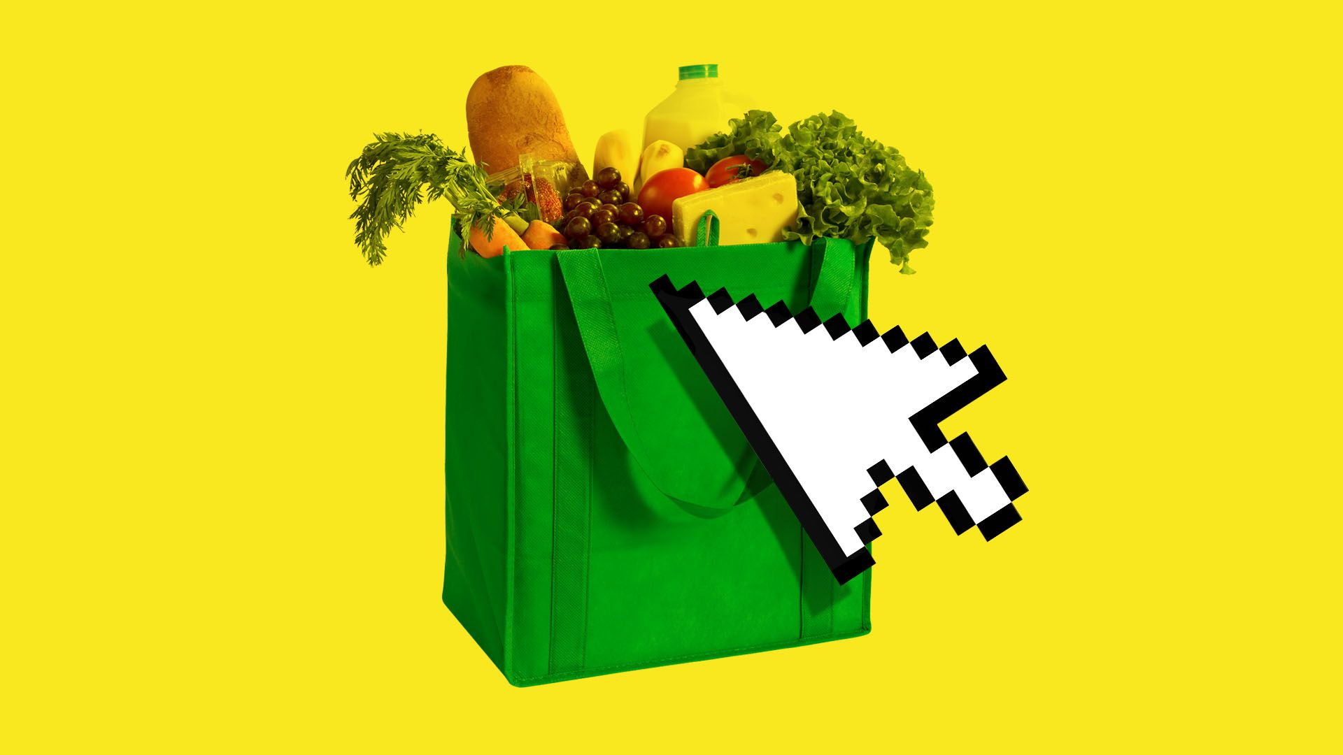 In this illustration, a large digital mouse clicks on a bag of groceries