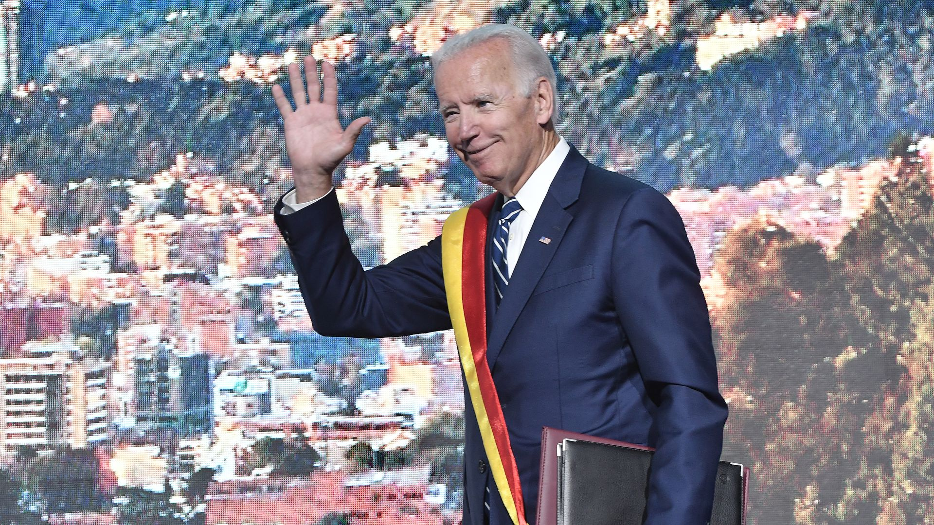 Joe Biden waving.