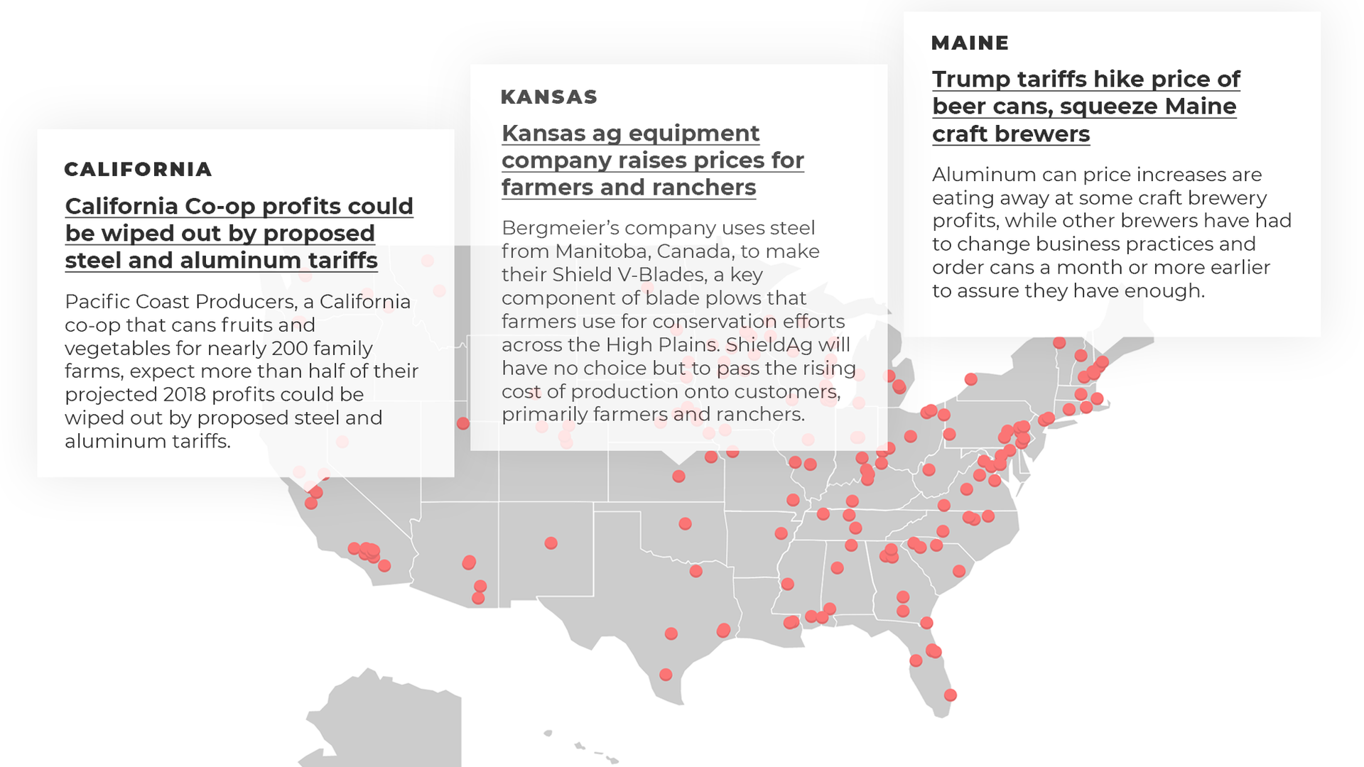U.S. map pinpointing examples of tariff pain