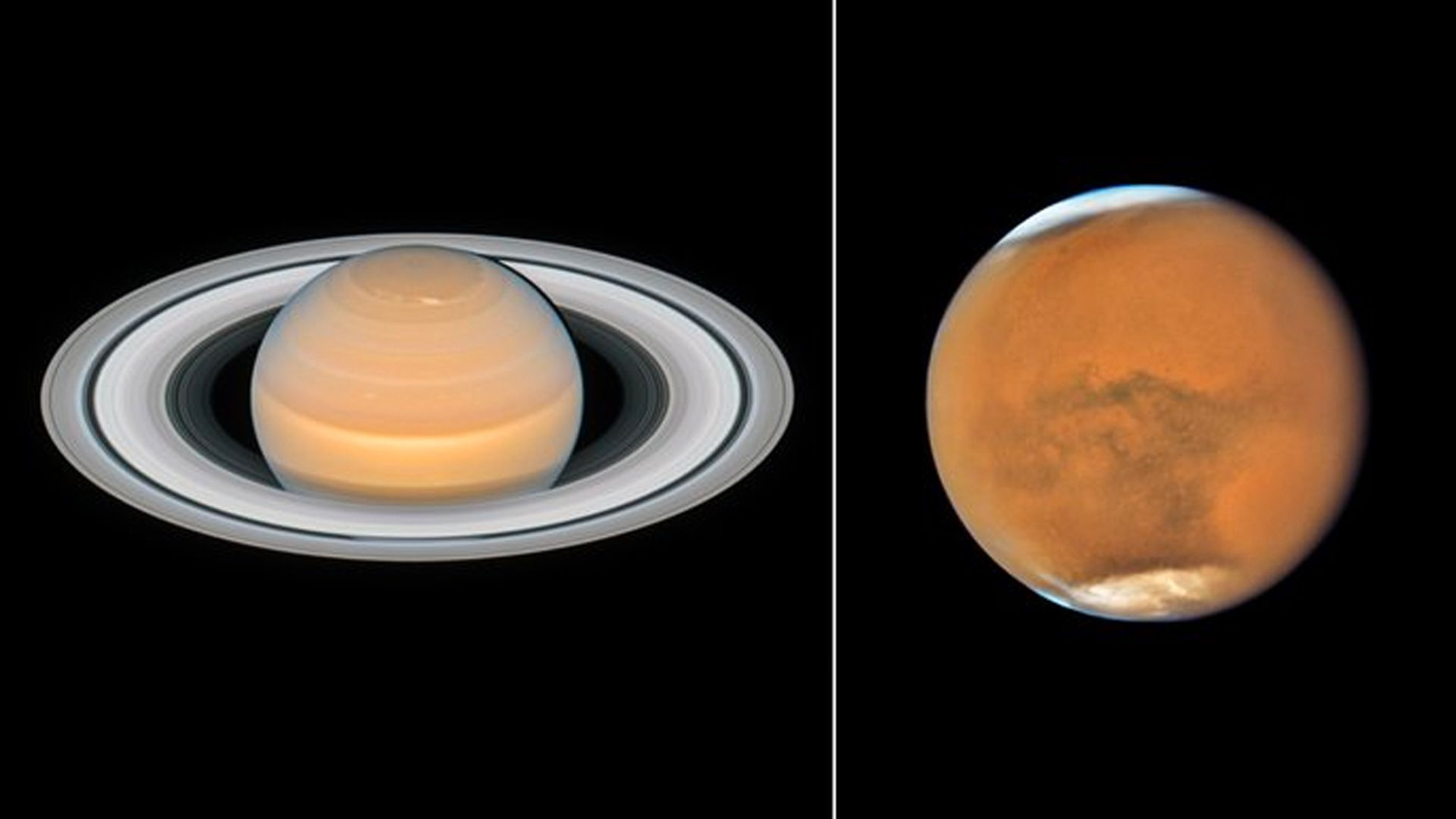 Hubble Telescope takes sharp new photos of Saturn and Mars