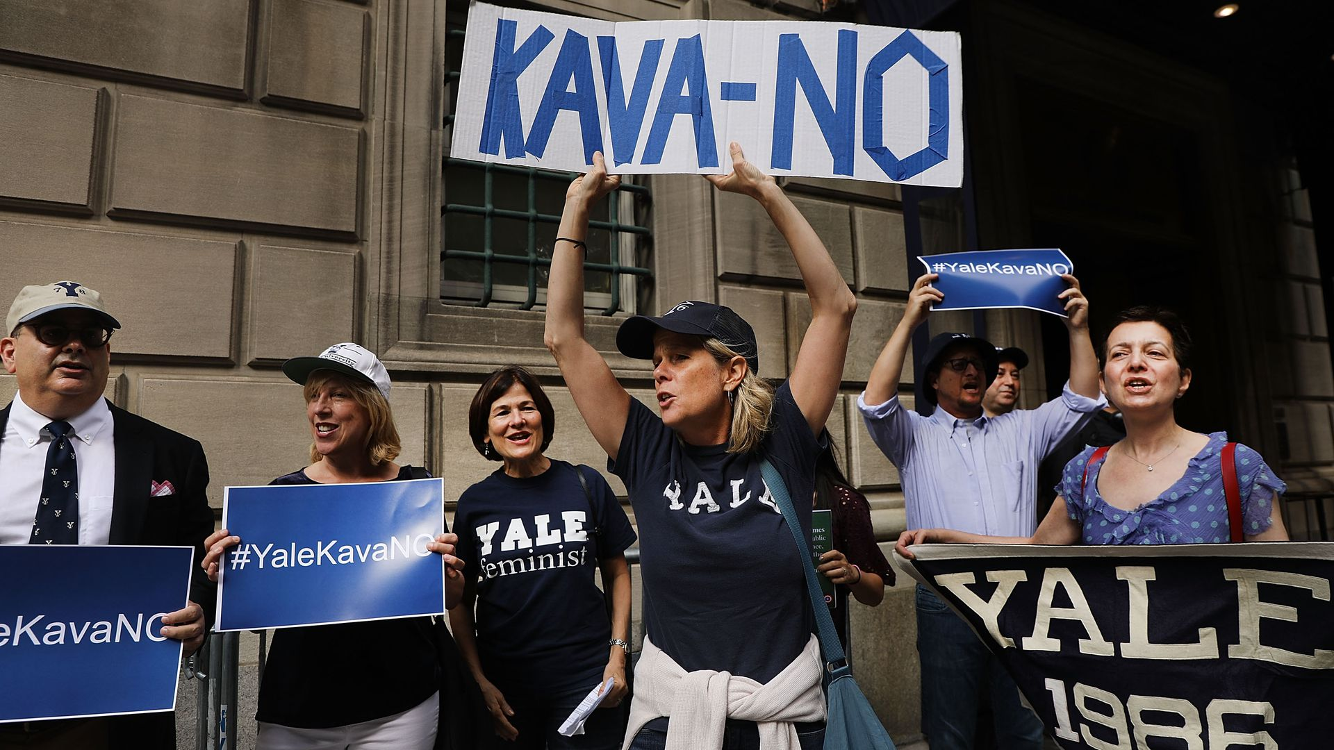Women from Yale protesting Brett Kavanaugh nomination.