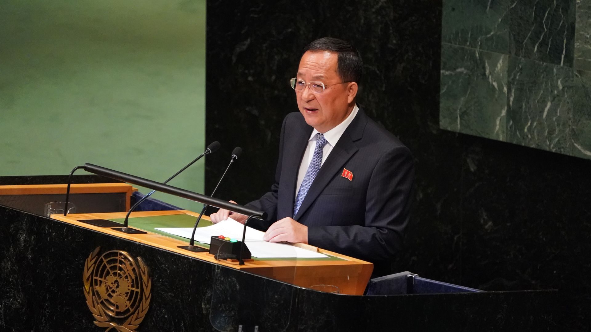 North Korean foreign minister speaking at the UN