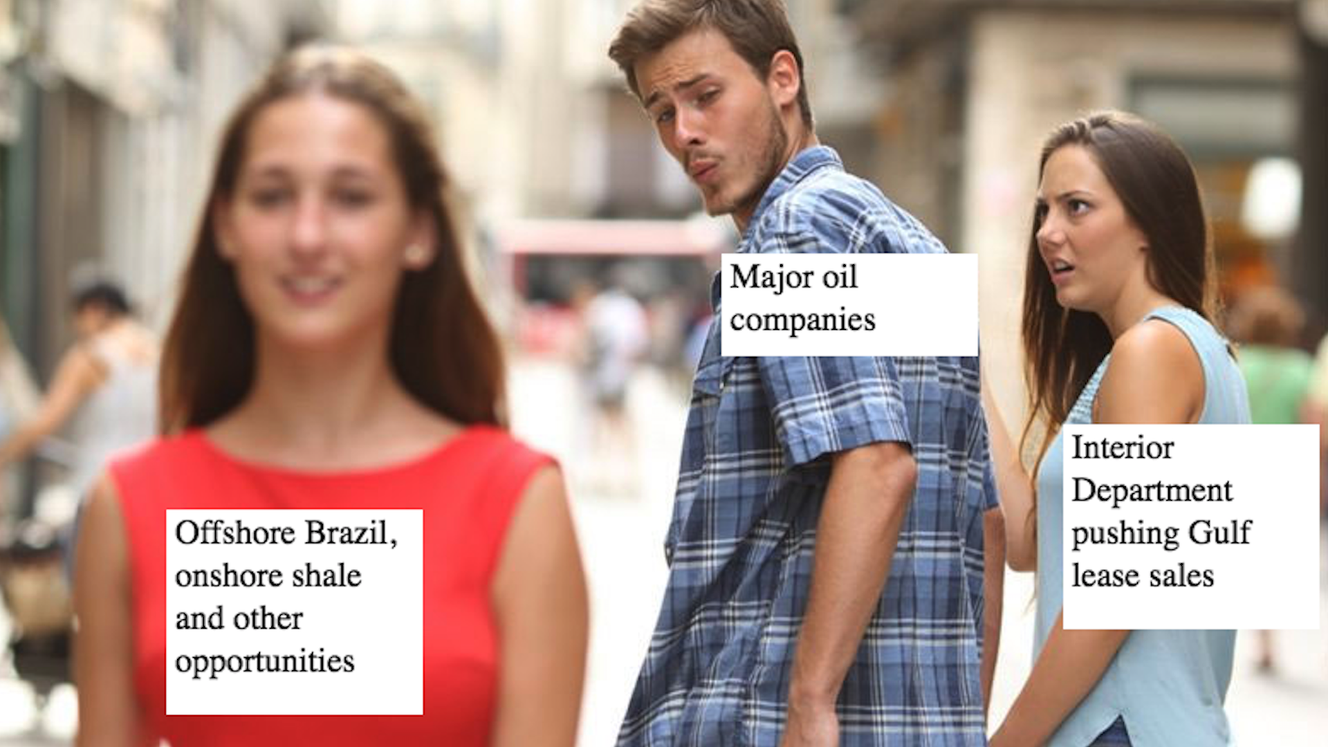 The wandering eye boyfriend meme in the context of offshore drilling