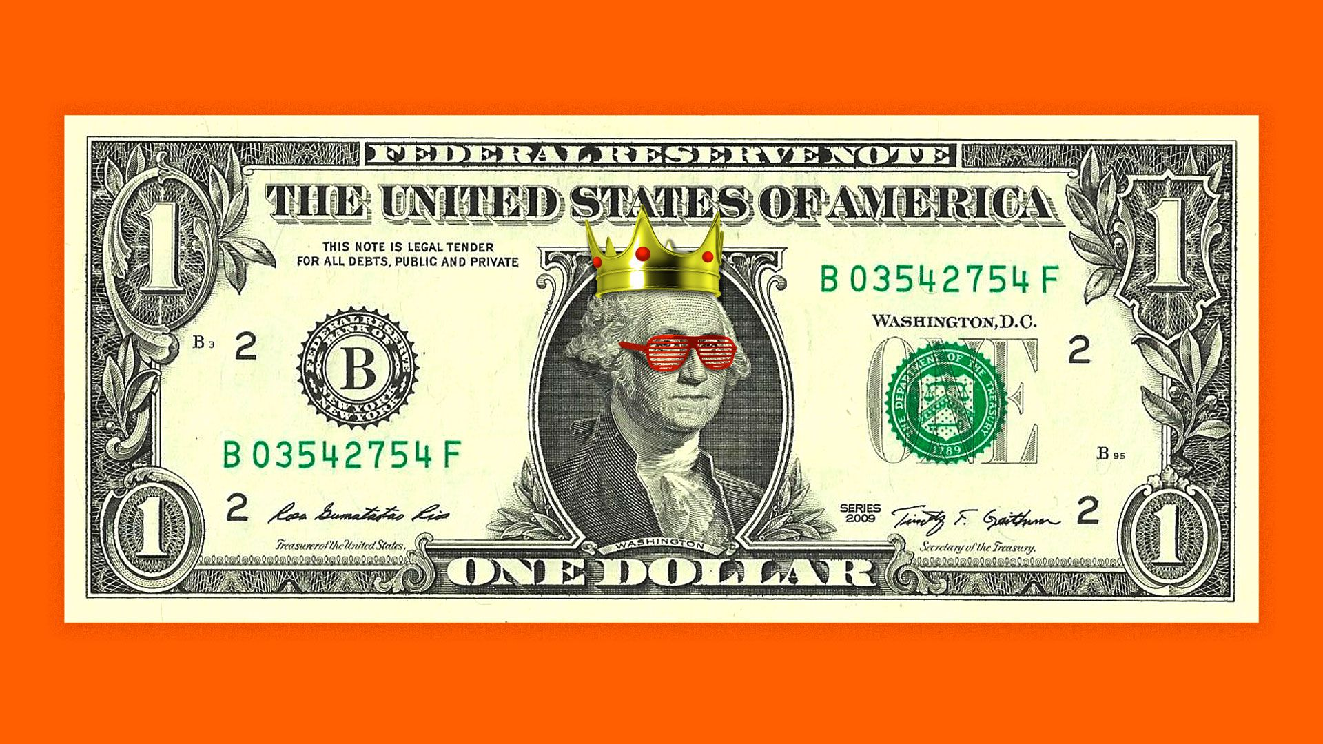 George Washington on the dollar bill wearing a crown and shutter shades.