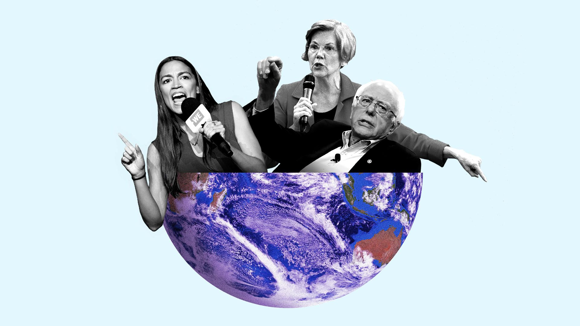 Illustration of Alexandria Ocasio-Cortez, Bernie Sanders, and Elizabeth Warren in globe