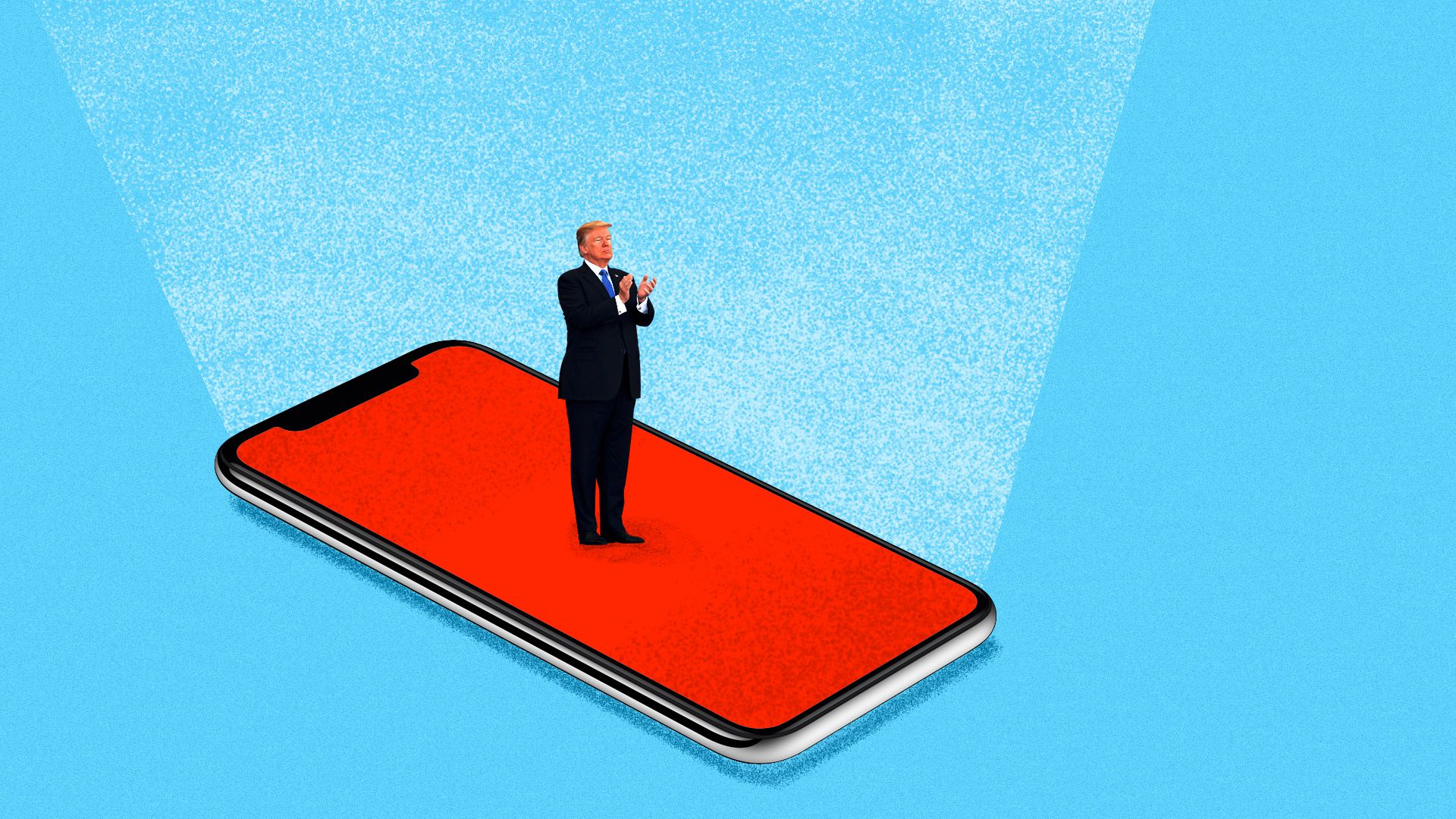 Illustration of President Trump speaking while standing on a red smartphone screen