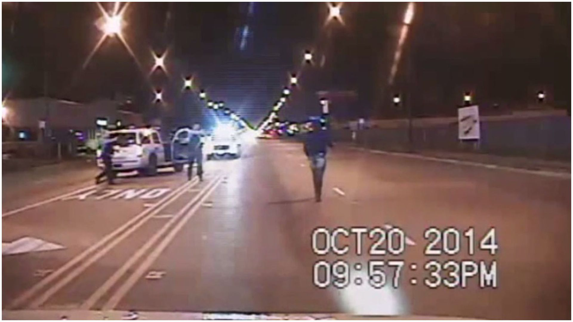 Still image taken from a police vehicle dash camera released by the Chicago Police Department in 2015 of the shooting of Laquan McDonald