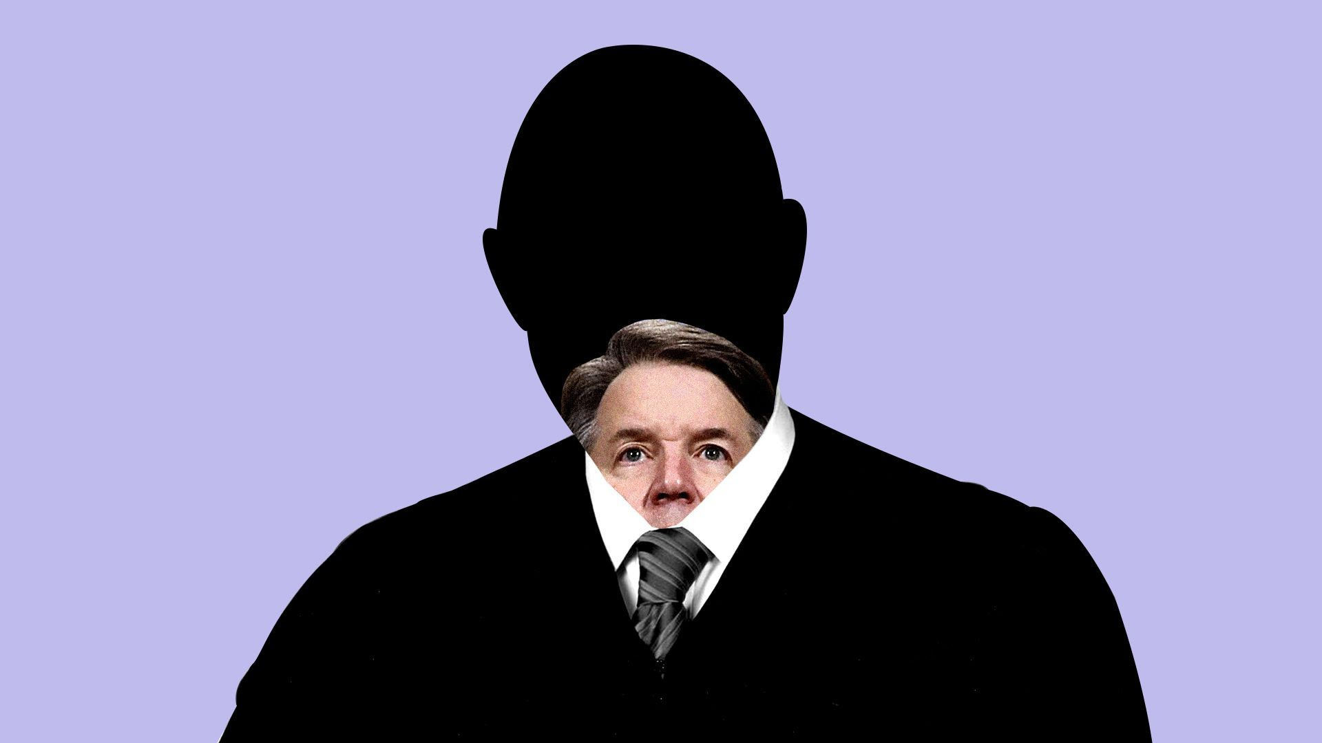 An illustration of a man's silhouette with Kavanaugh's head shrinking in it