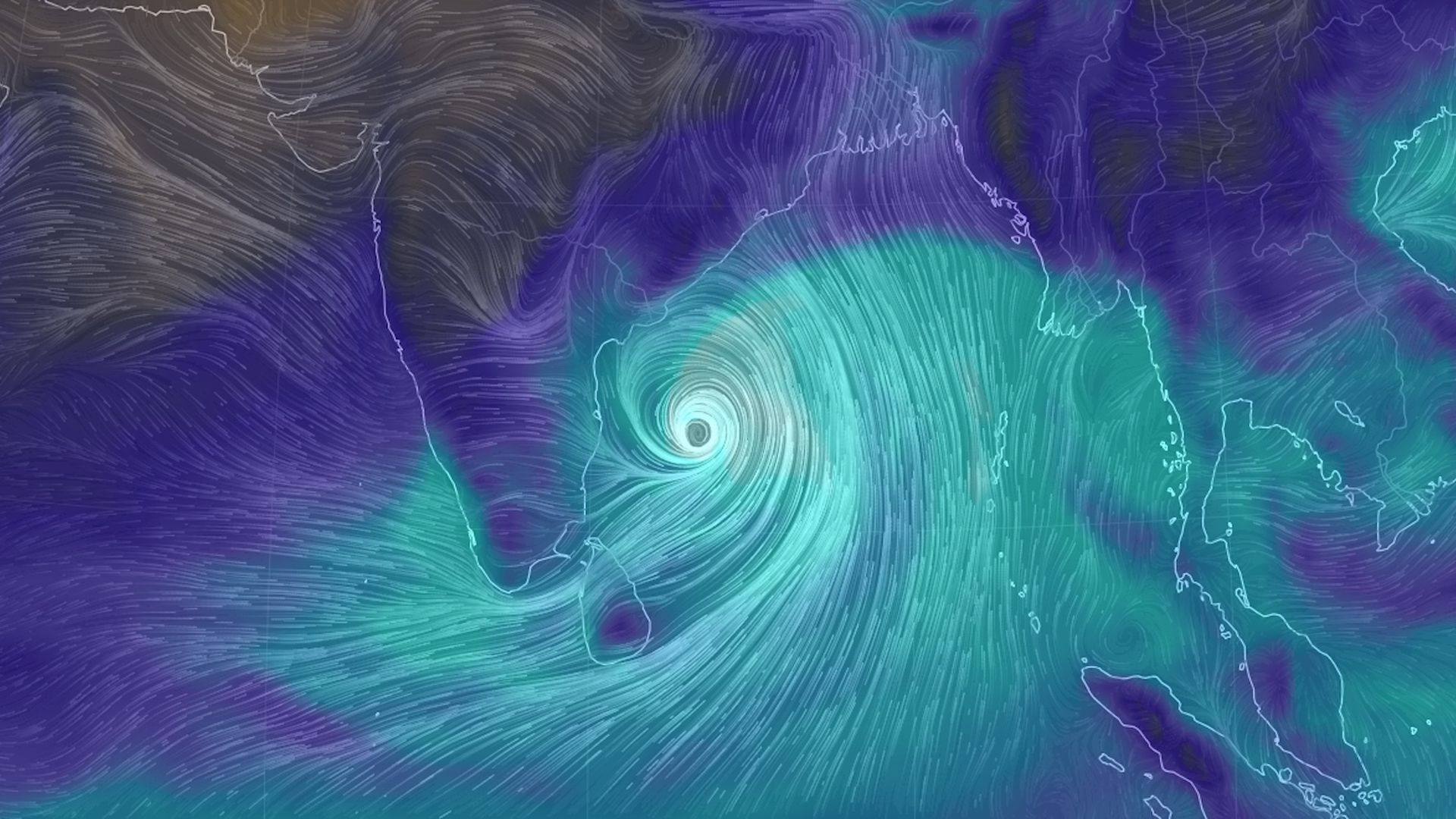 Computer model projection of Cyclone Fani moving toward India on May 1, 2019.