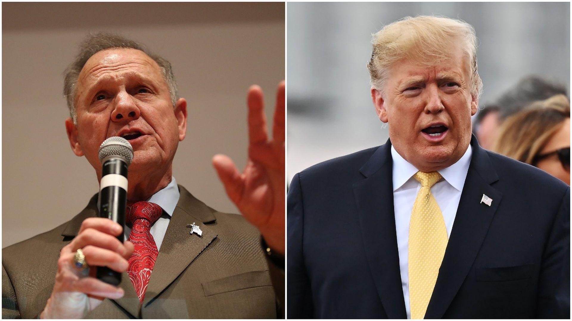 This image is a split screen of Moore and Trump.