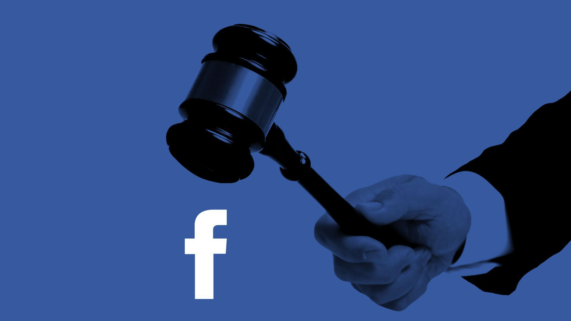 Illustration of a gavel landing on a Facebook logo