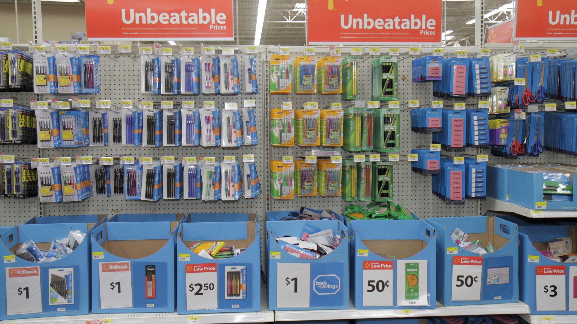 School supplies on sale at Walmart.