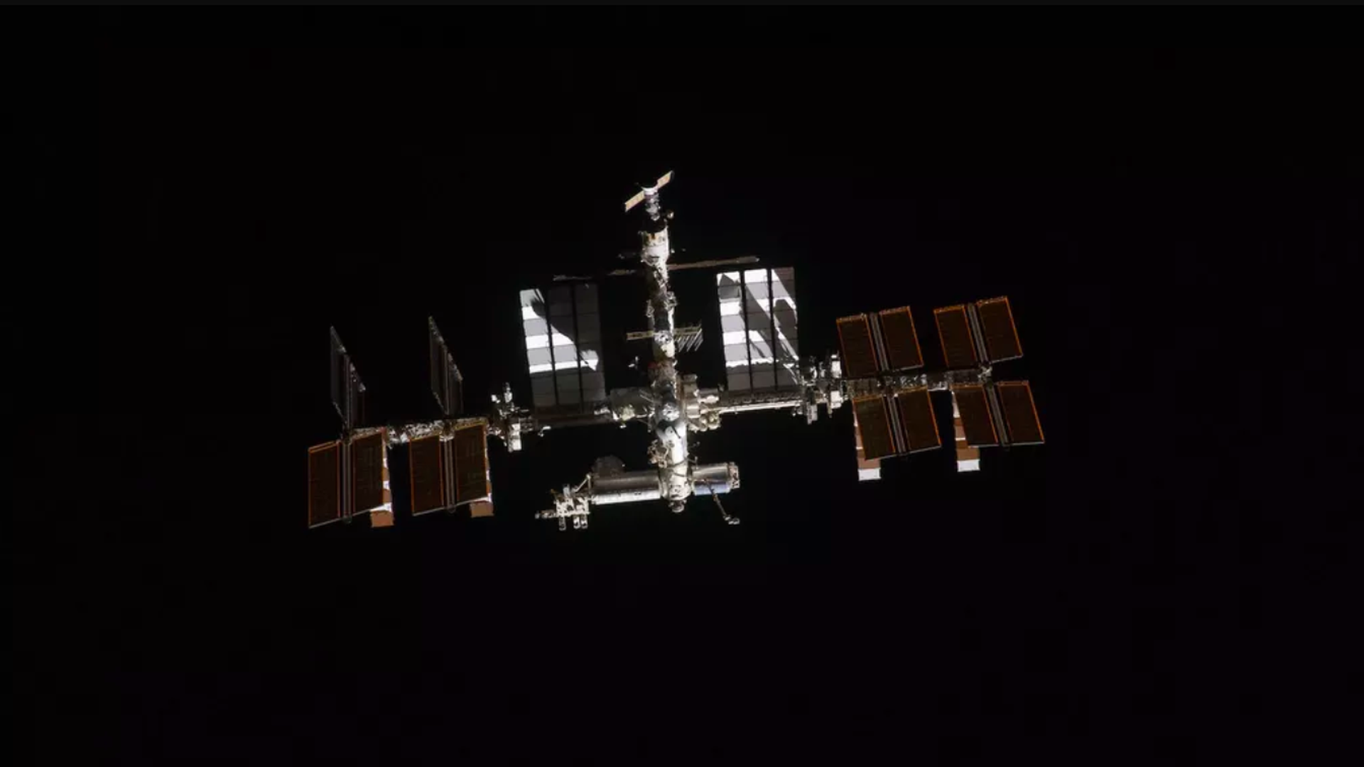 This image shows the International Space Station surrounded by space.