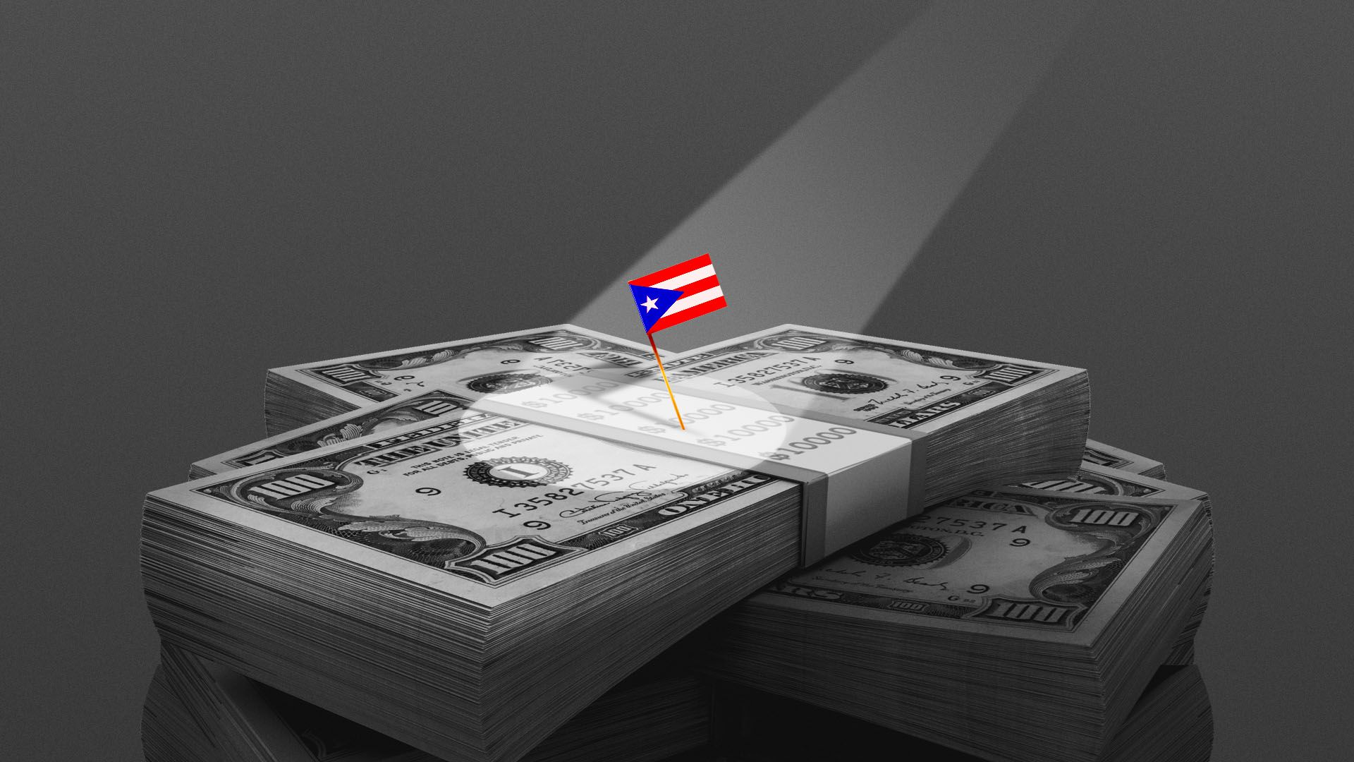Illustration of a spotlight on a tiny Puerto Rican flag on top of a stack of money
